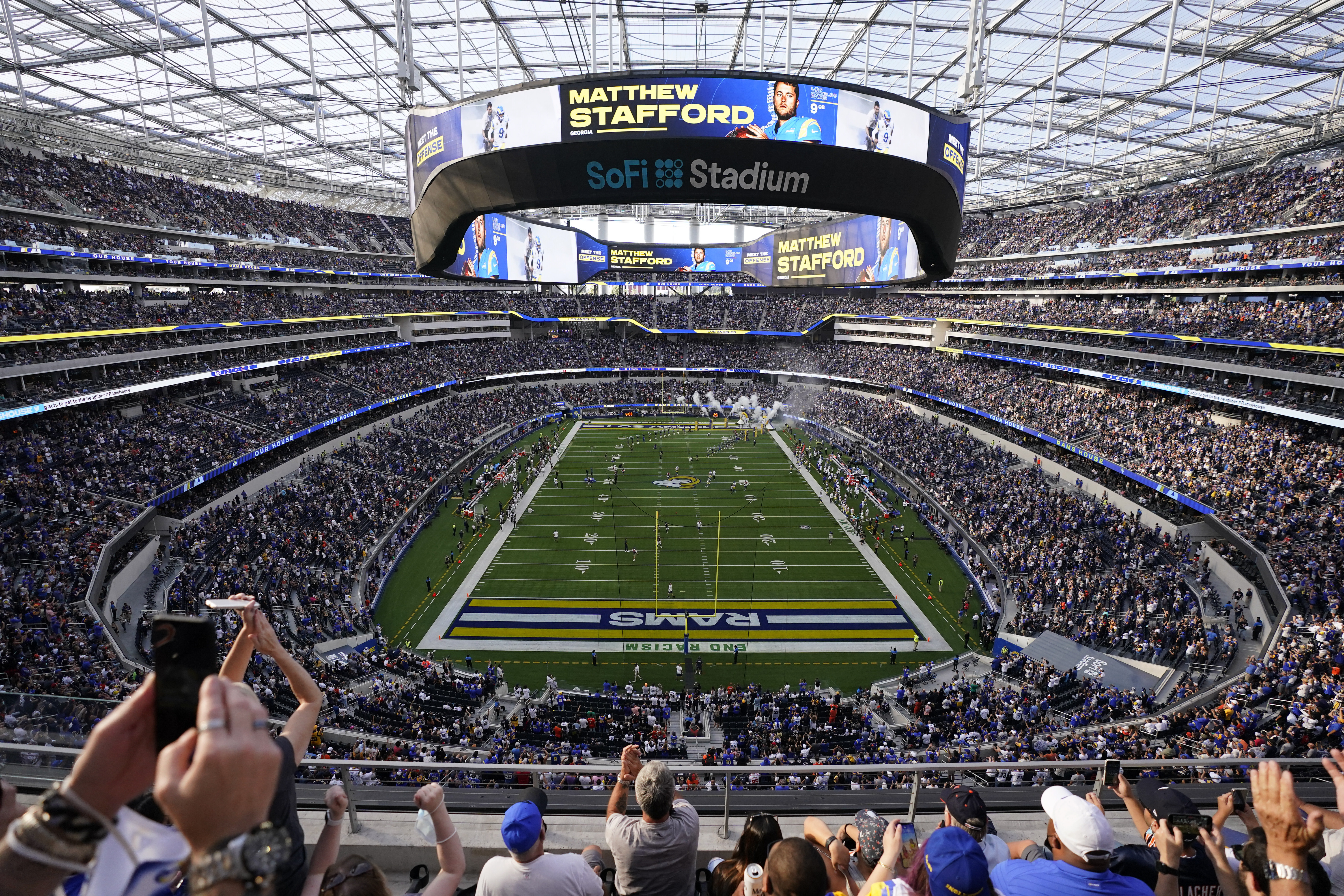SoFi Stadium in Inglewood, California, hosted NFL fans for the first time during Sunday's Bears-Rams game. It also hosted its first fan brawl.