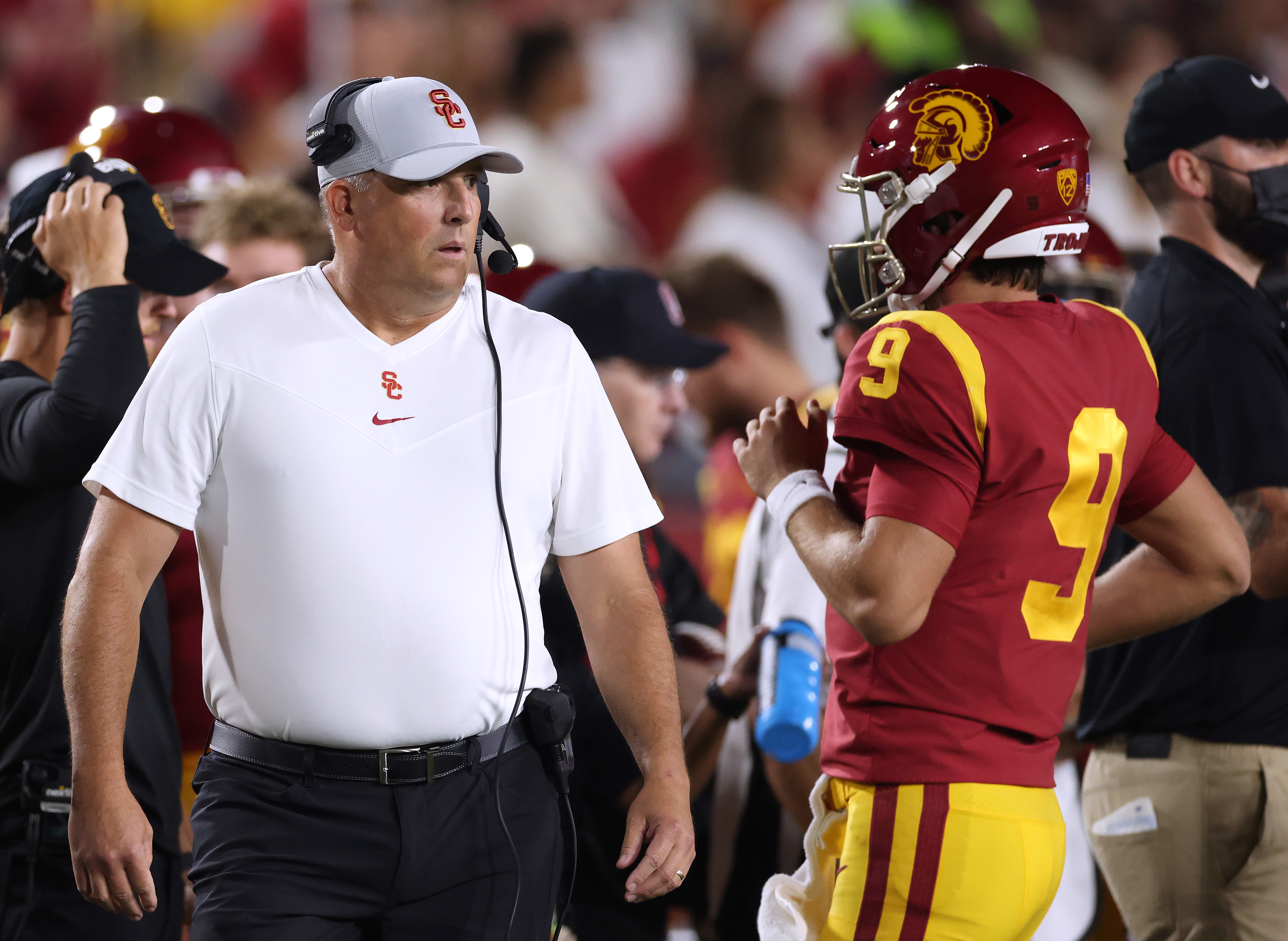 Head coach Clay Helton of USC Trojans reacts as Kedon Slovis comes off the field to punt on fourth down during the first quarter against the Stanford Cardinal at Los Angeles Memorial Coliseum on September 11, 2021 in Los Angeles, California.