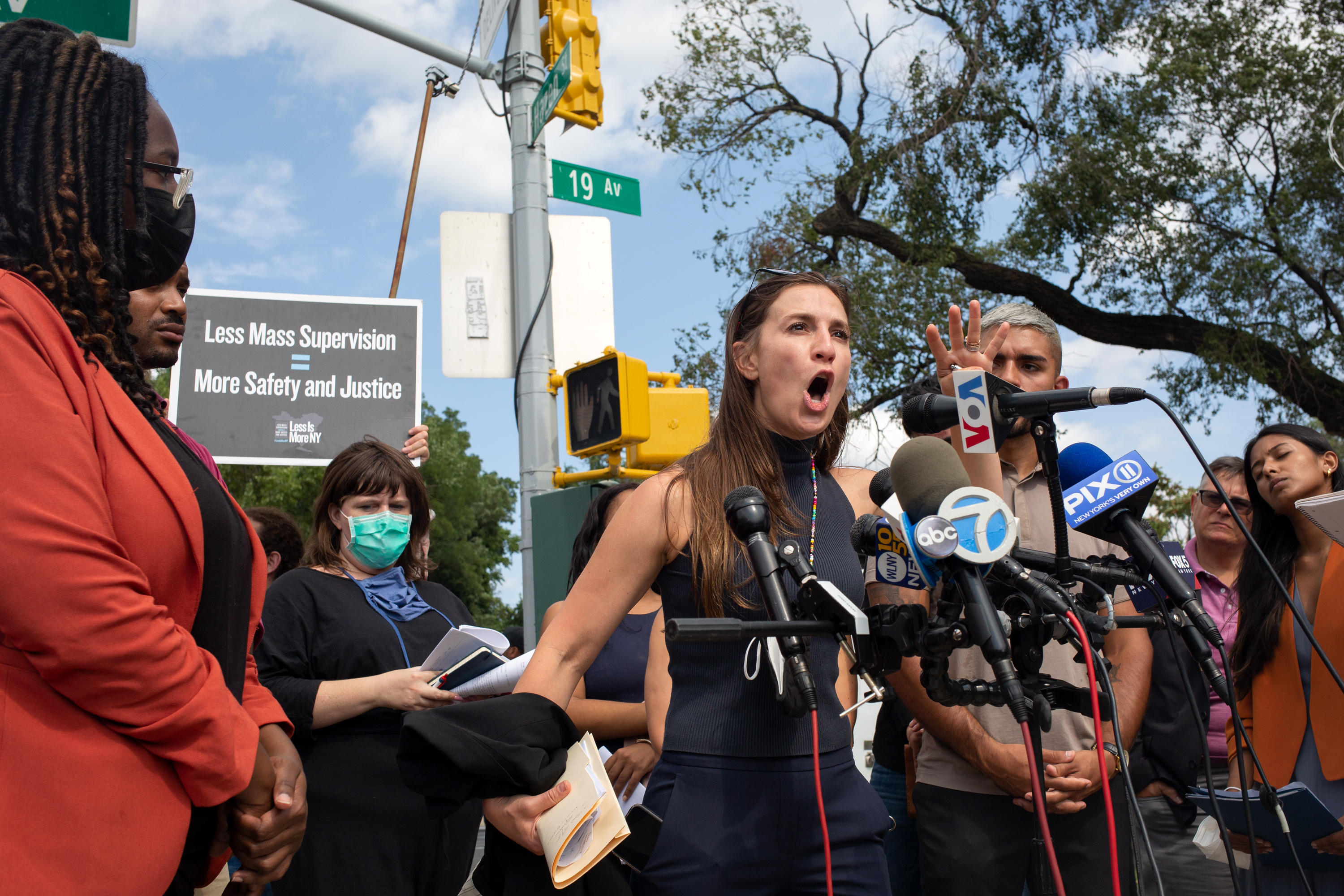 State Sen. Alessandra Biaggi (D-The Bronx, Westchester) speaks about horrid conditions she witnessed on Rikers Island during a rally outside the jail complex on Monday, Sept. 13, 2021.