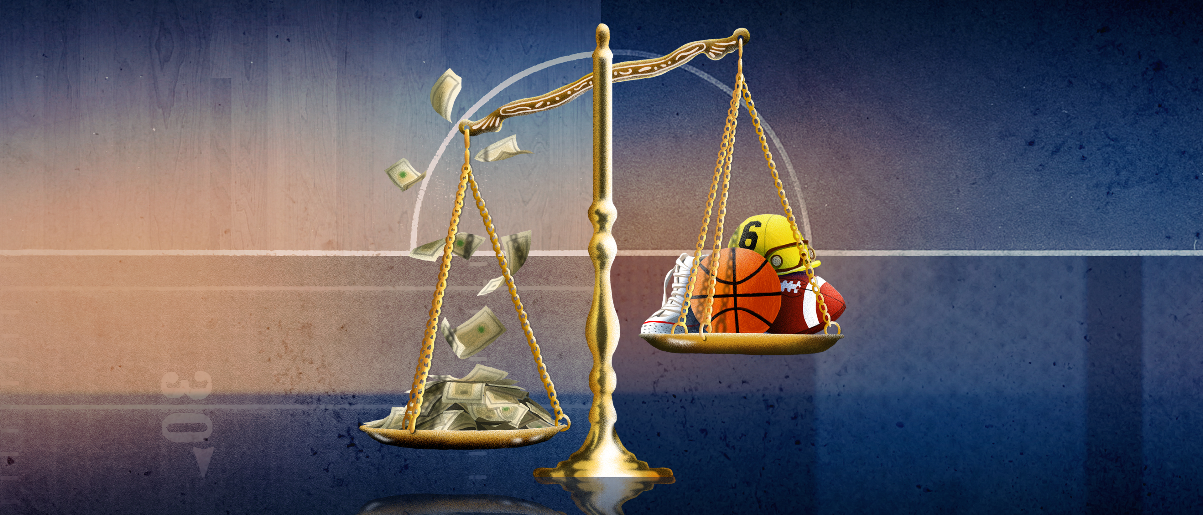 An illustration of scales of justice holding sports items like basketballs.