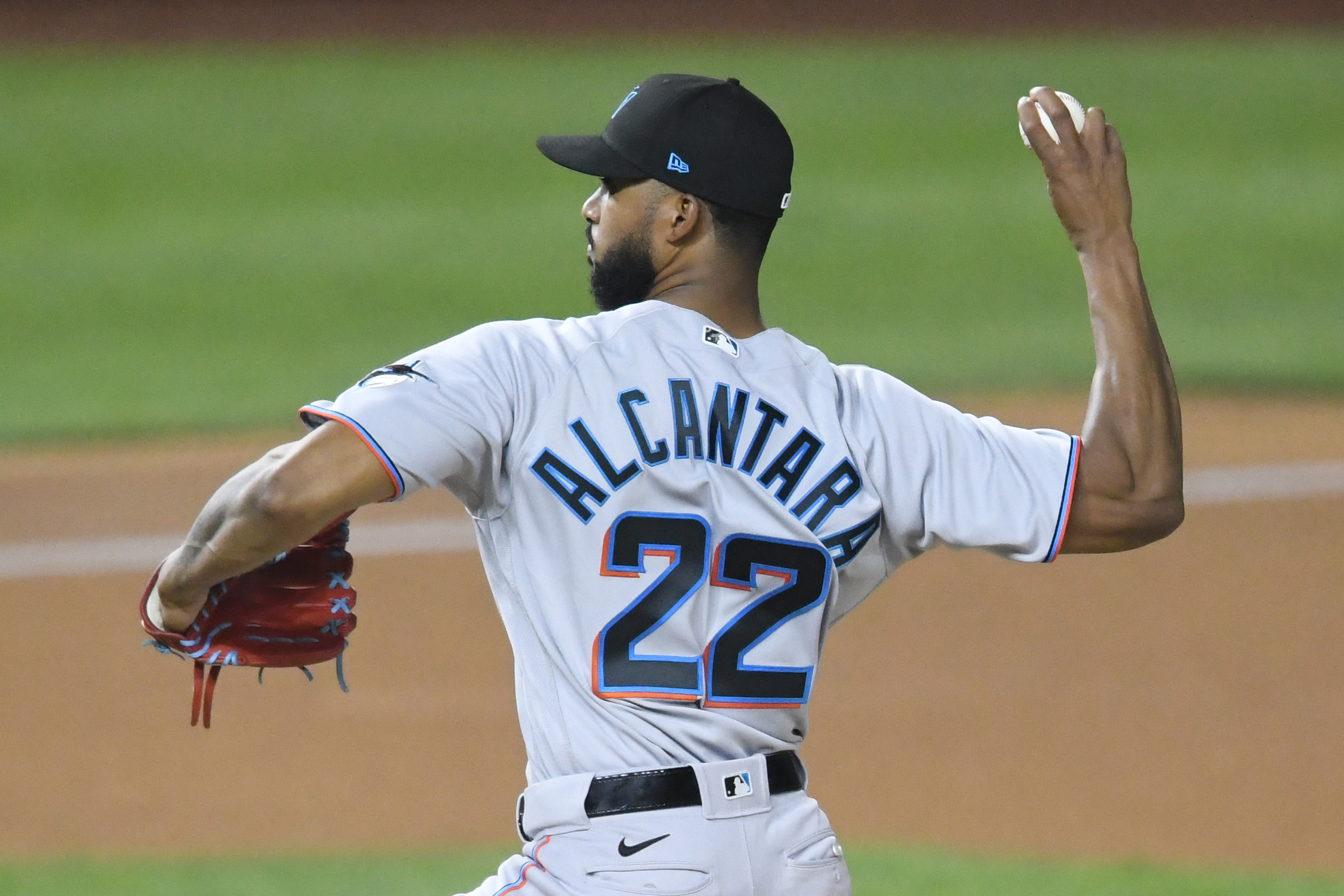 Sandy Alcantara #22 of the Miami Marlins pitches in the seventh inning during a baseball game against the Washington Nationals at Nationals Park