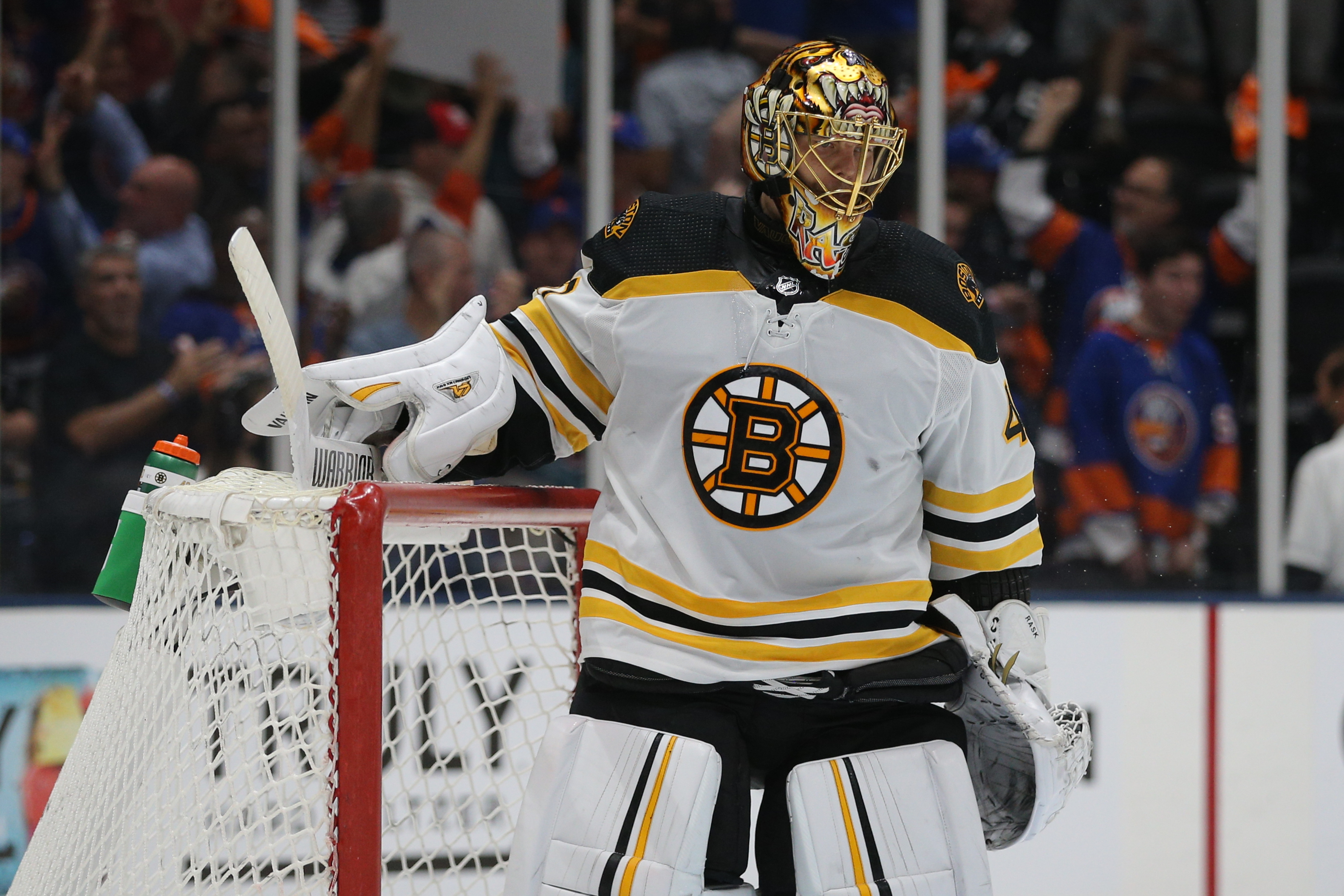 Boston Bruins goalie Tuukka Rask (40) reacts after a goal by New York Islanders right wing Kyle Palmieri (not pictured) during the second period of game six of the second round of the 2021 Stanley Cup Playoffs at Nassau Veterans Memorial Coliseum.