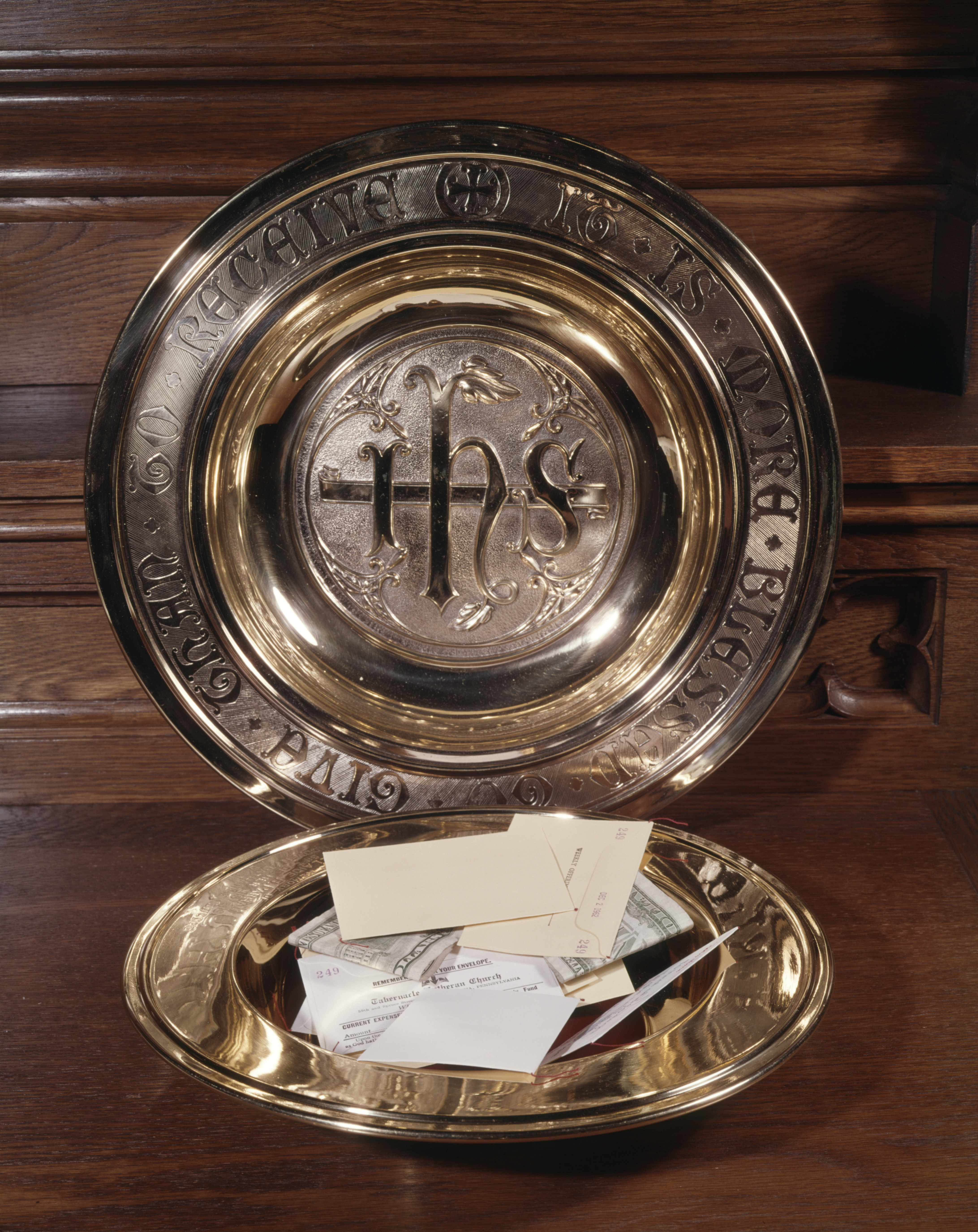 Collection Plate Used At Church Mass.