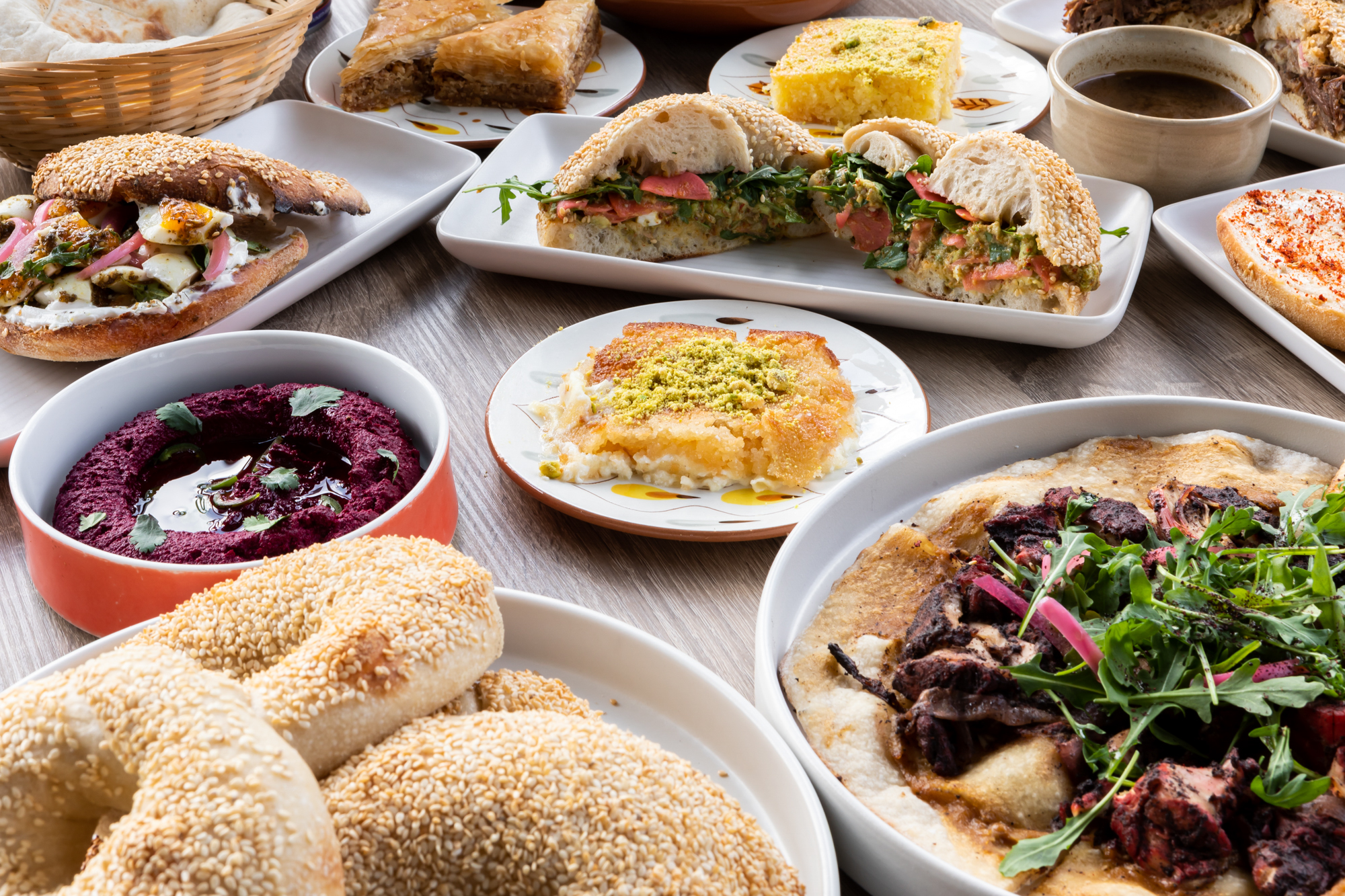 A spread of dishes at Reem's in the Mission