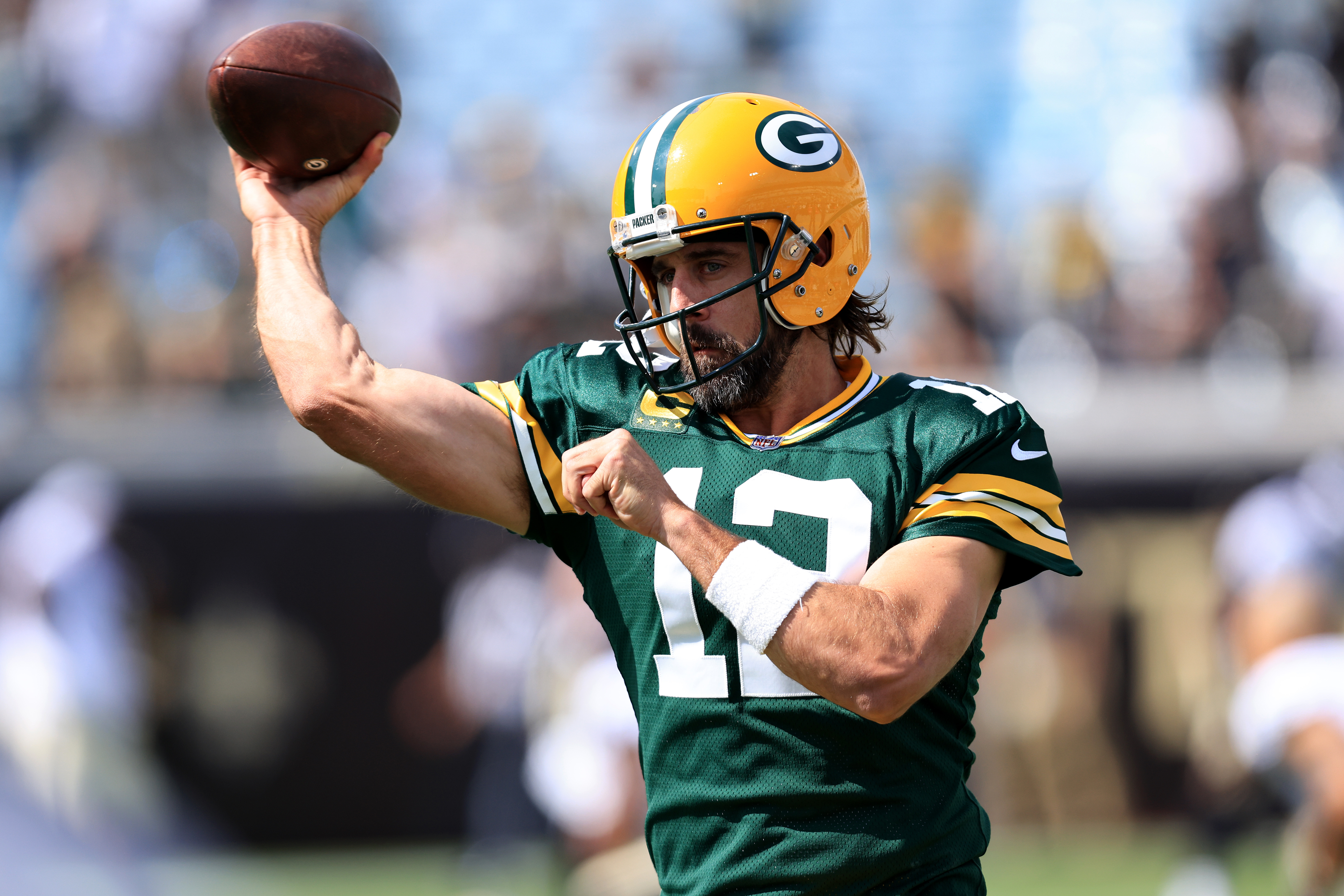 Aaron Rodgers of the Green Bay Packers warms up prior to the game against the New Orleans Saints at TIAA Bank Field on September 12, 2021 in Jacksonville, Florida.