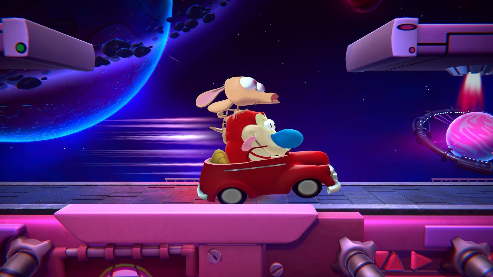 Nickelodeon cartoon characters Ren & Stimpy shown in a speeding car in Nickelodeon All-Star Brawl