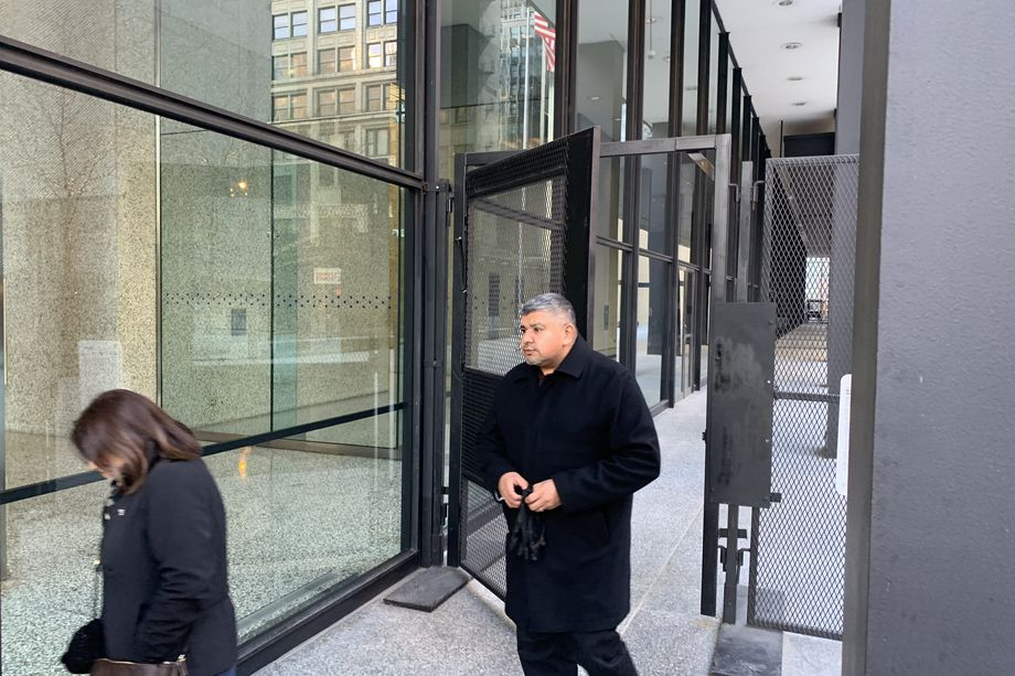 """Mariano """"Mario"""" Martinez leaves federal court in Chicago after pleading guilty in 2019 to a heroin charge and admitting in his plea agreement to bribing two Summit officials."""