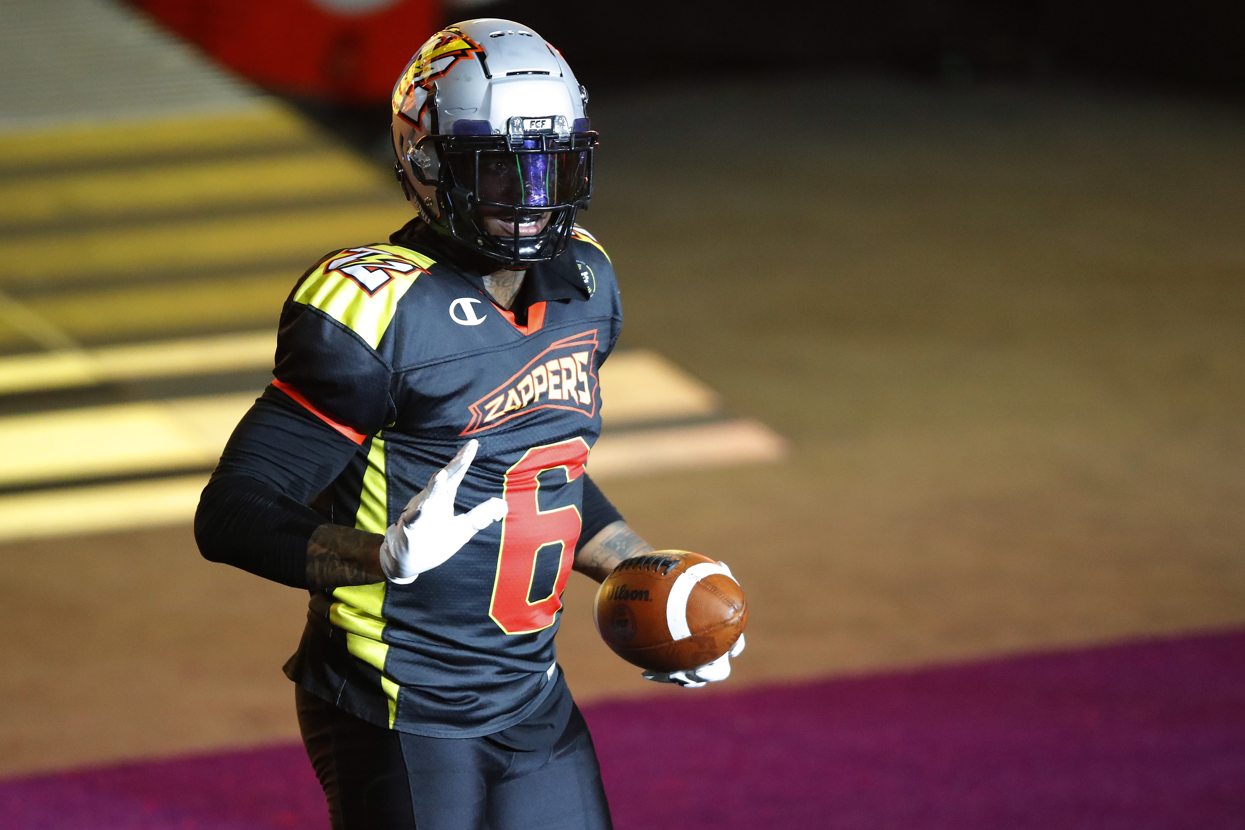 Josh Gordon #6 of the Zappers celebrates a touchdown against the Wild Aces during the second half of a Fan Controlled Football game at Infinite Energy Arena on March 13, 2021 in Duluth, Georgia.