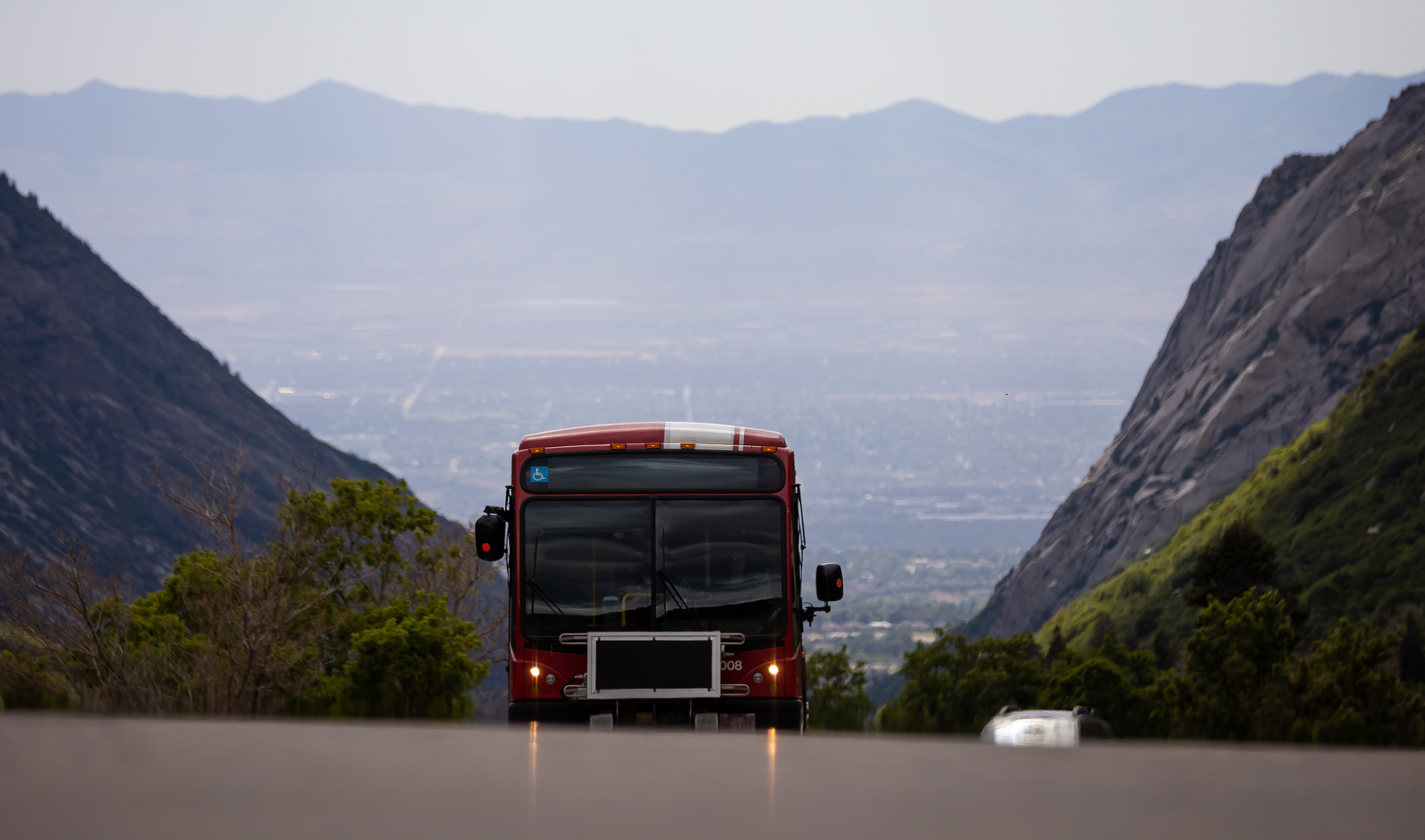 A Utah Transit Authority bus drives up Little Cottonwood Canyon on Tuesday, June 29, 2021.