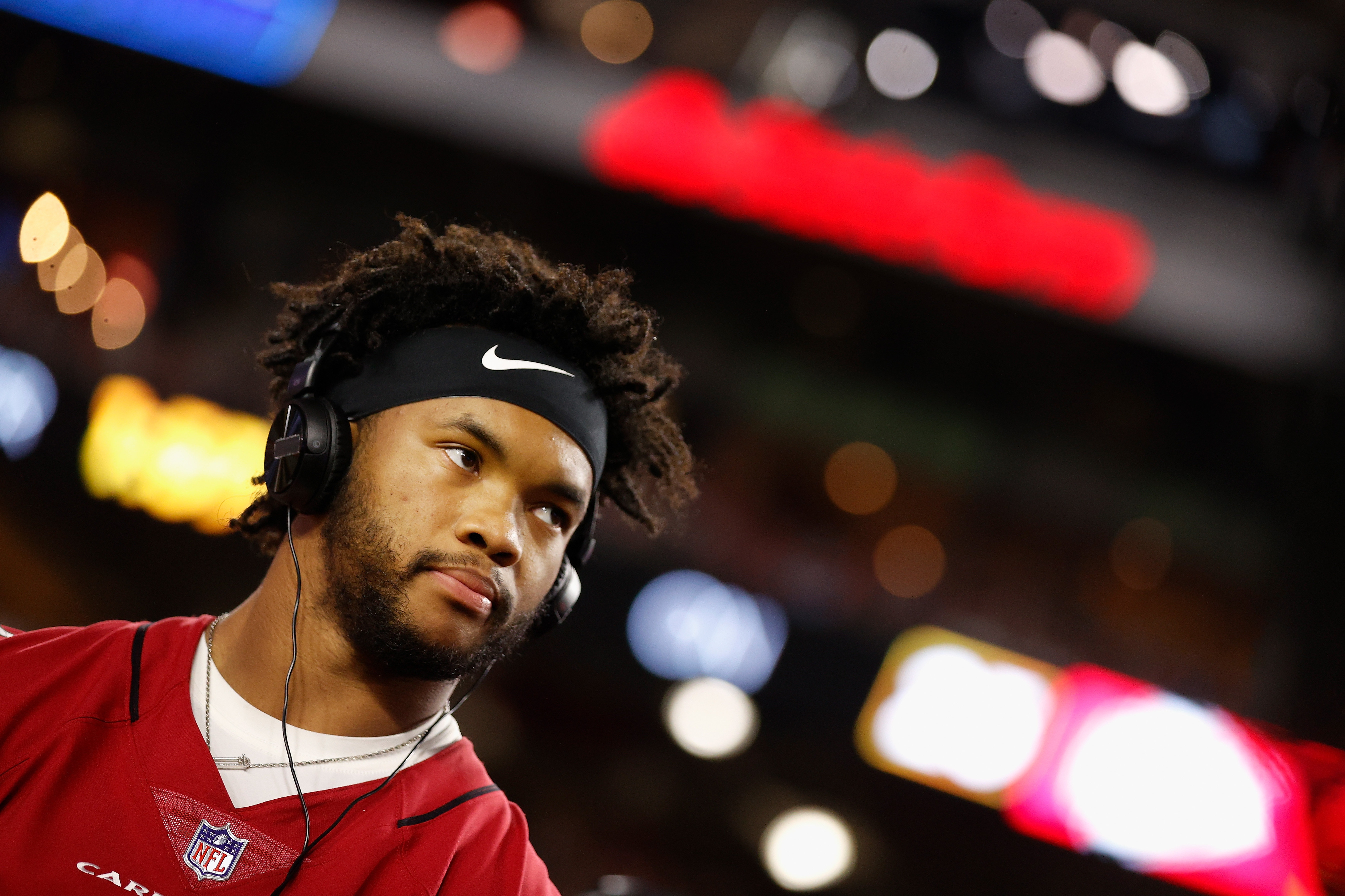 Quarterback Kyler Murray #1 of the Arizona Cardinals stands on the sidelines during the second half of the NFL preseason game against the Kansas City Chiefs at State Farm Stadium on August 20, 2021 in Glendale, Arizona. The Chiefs defeated the Cardinals 17-10.