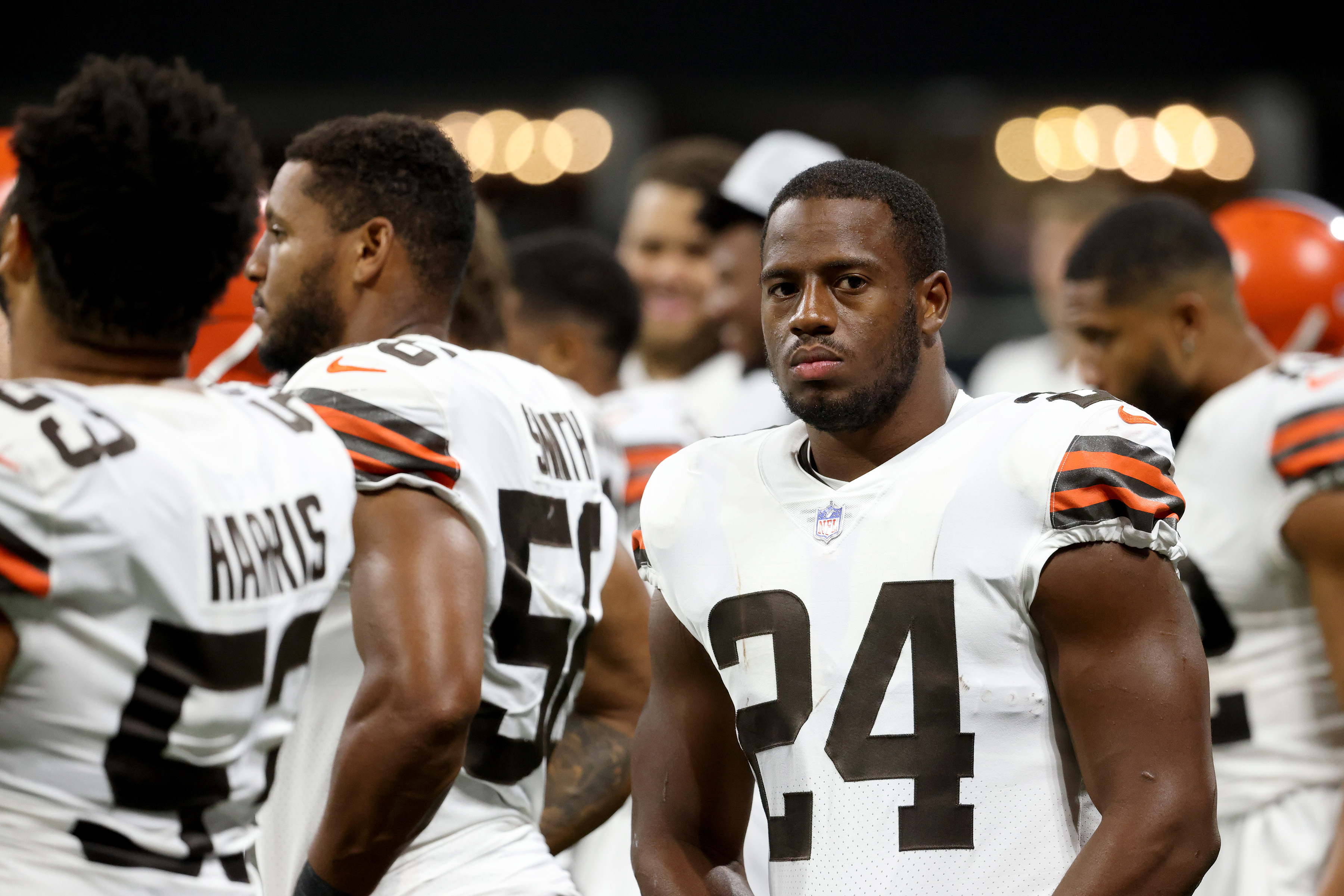 Cleveland Browns running back Nick Chubb (24) is shown on the sideline during their game against the Atlanta Falcons at Mercedes-Benz Stadium.