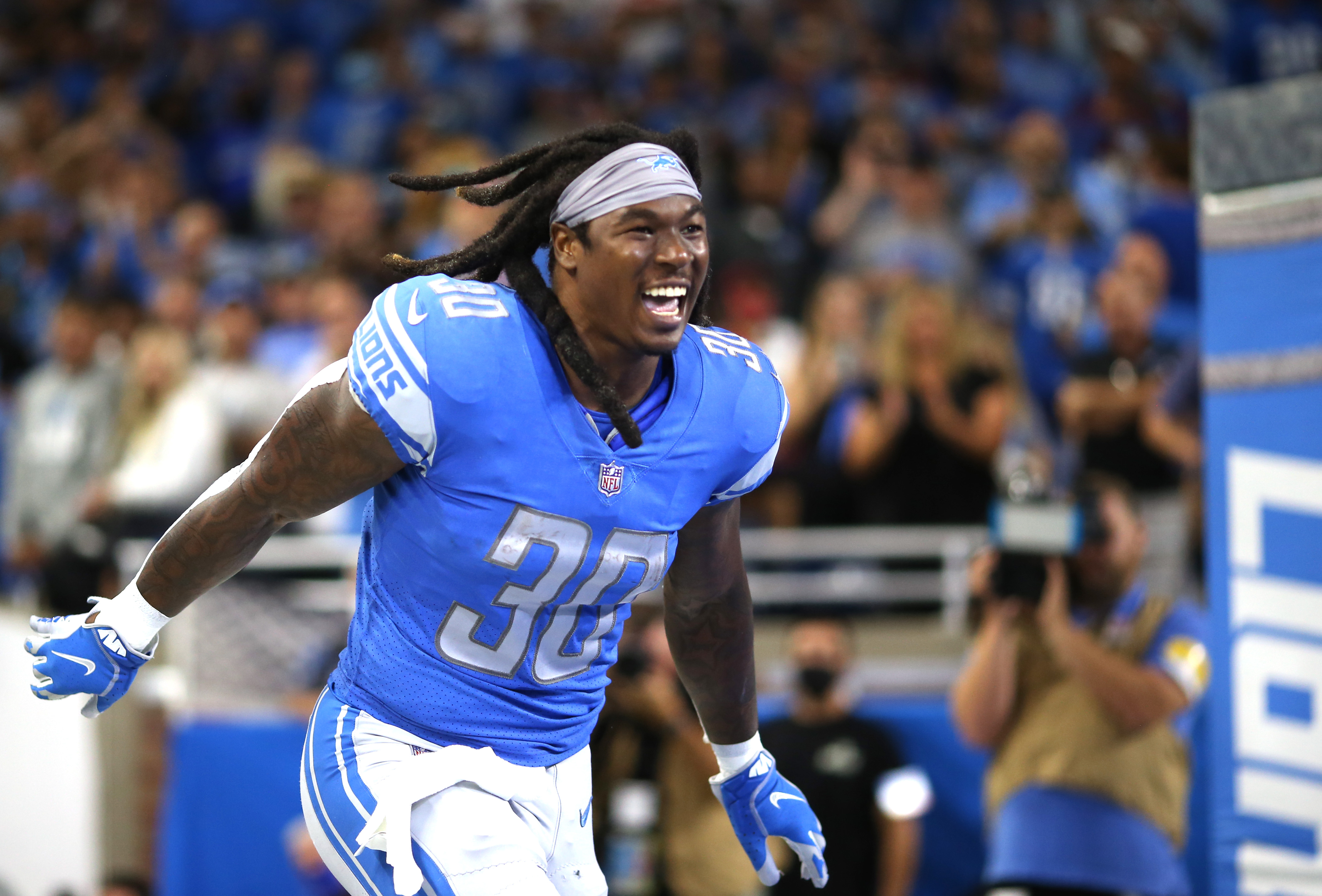 Jamaal Williams #30 of the Detroit Lions reacts as he is introduced prior to the game against the San Francisco 49ers during the first half at Ford Field on September 12, 2021 in Detroit, Michigan.