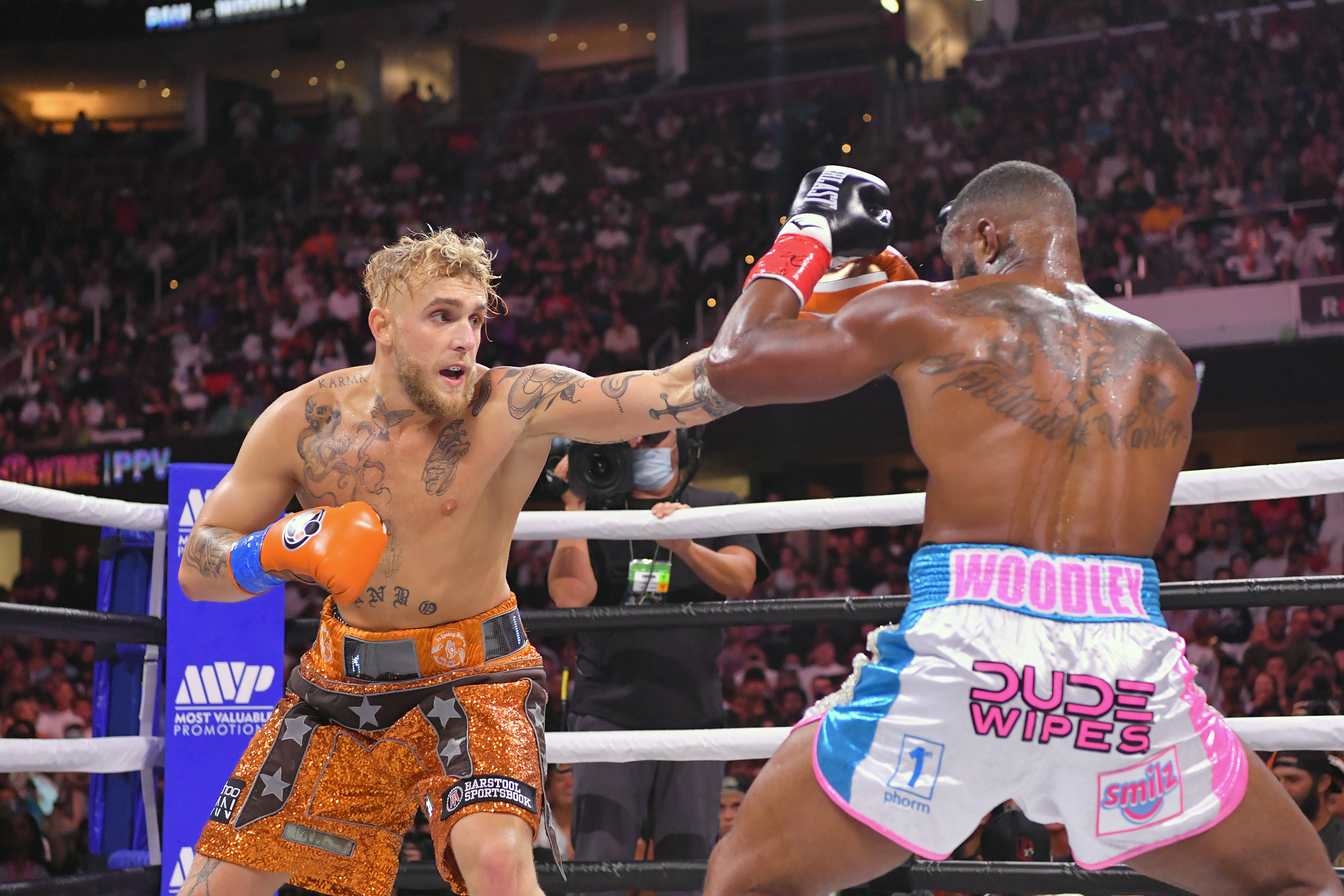 Jake Paul and Tyron Woodley during their boxing match.