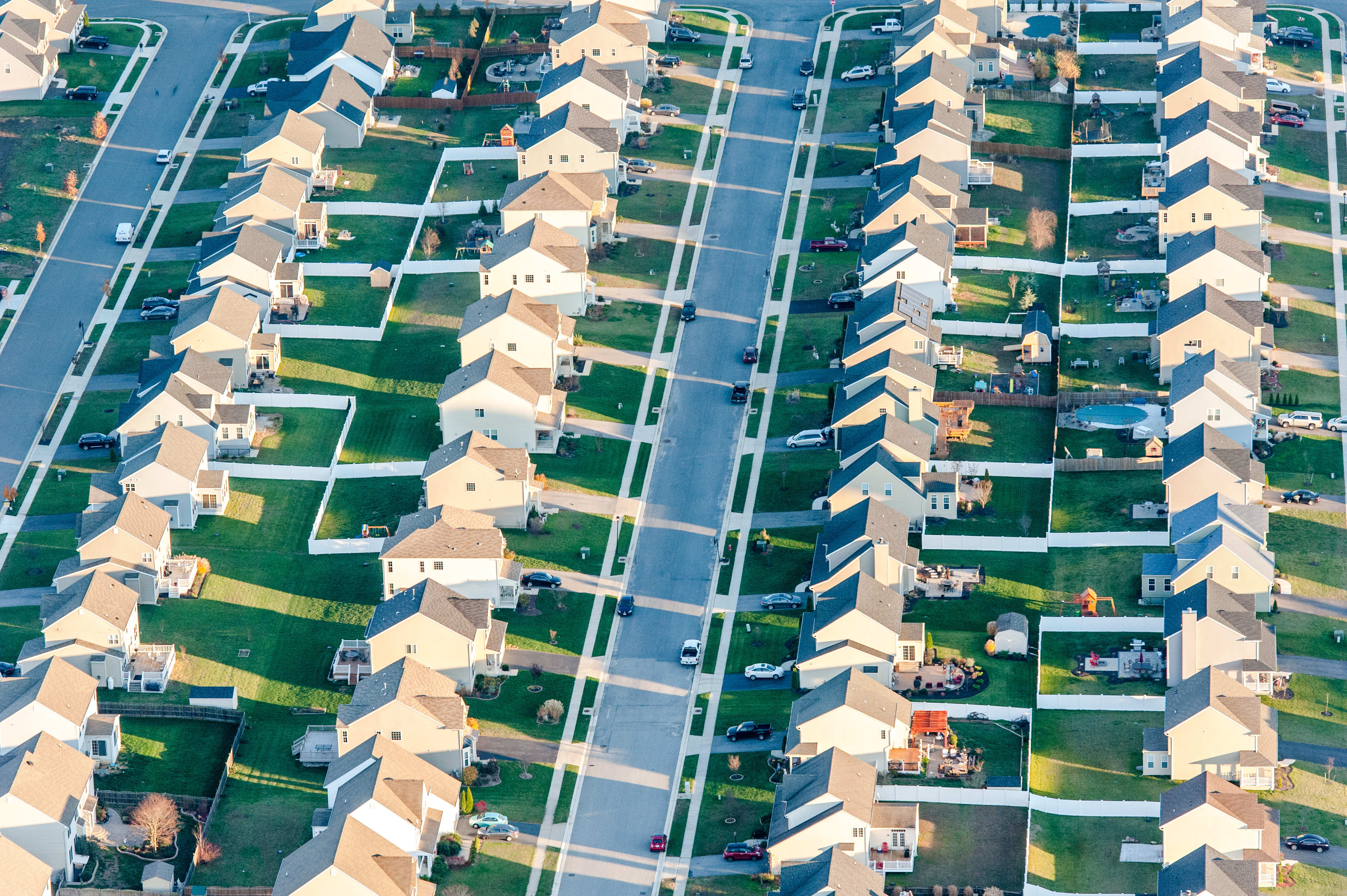 Aerial view of rows of houses over Centerville, Maryland.