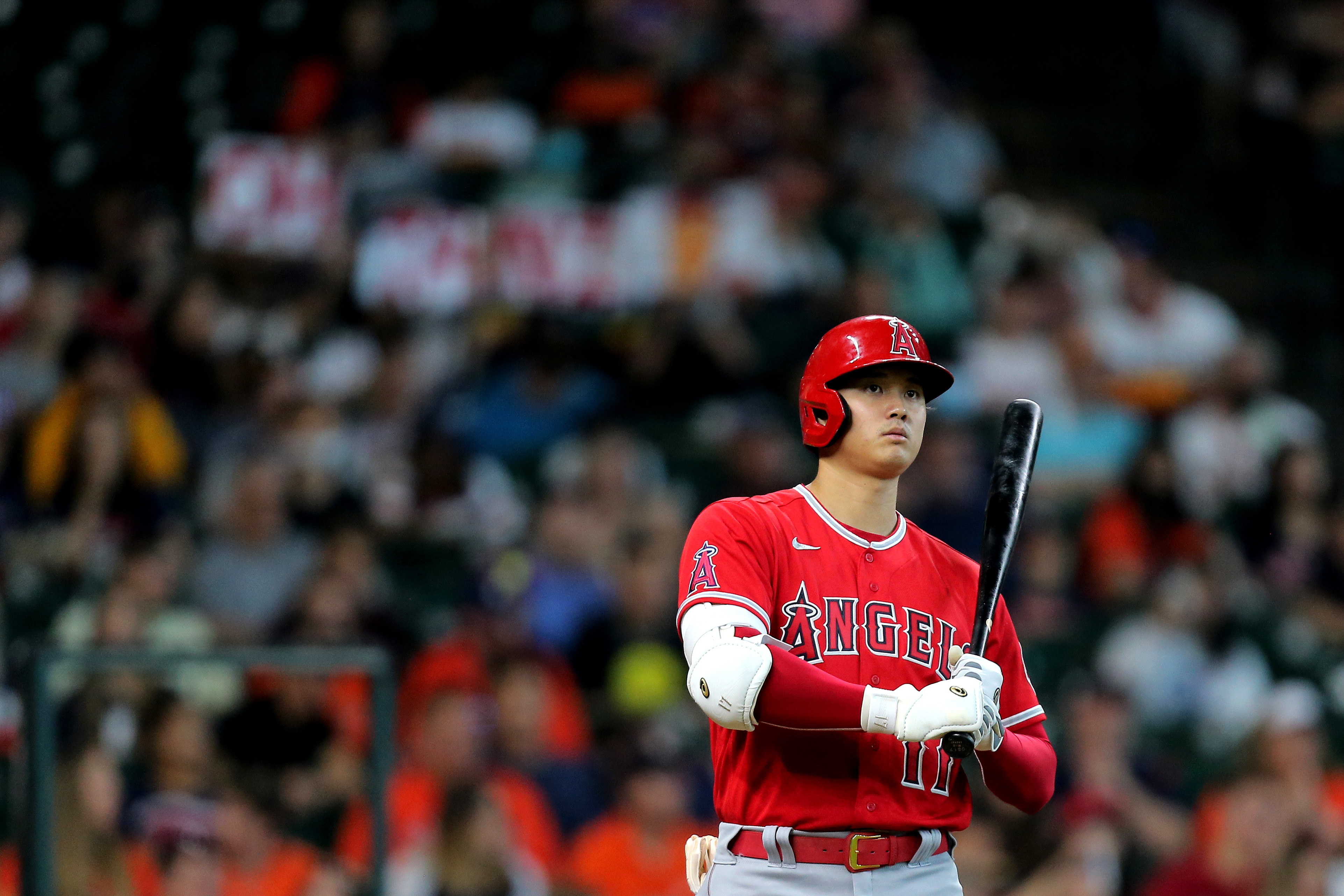Los Angeles Angels designated hitter Shohei Ohtani (17) steps into the batter's box against the Houston Astros during the third inning at Minute Maid Park.