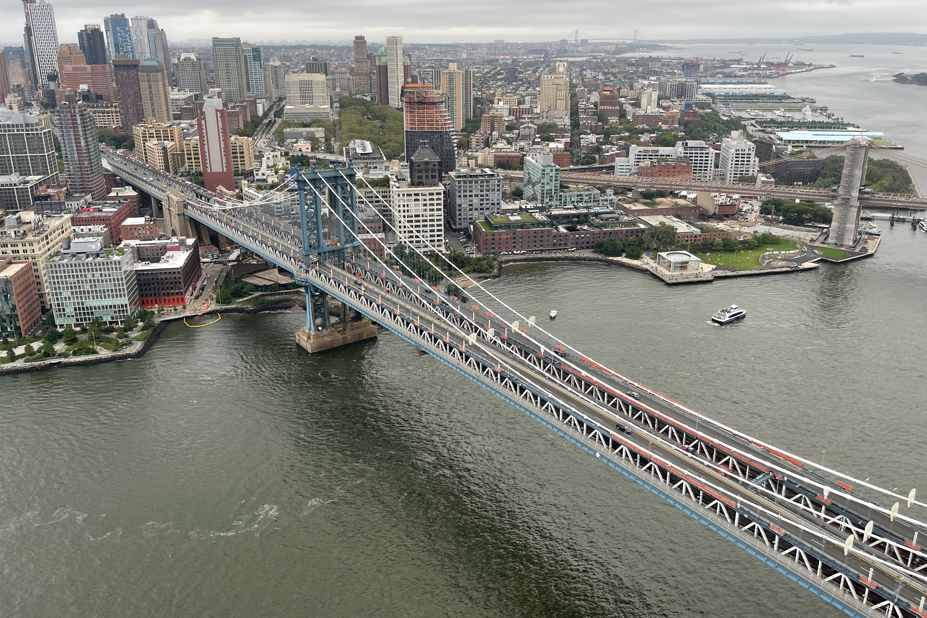 An aerial view of the Manhattan Bridge and the Dumbo section of Brooklyn on Aug 29th 2021