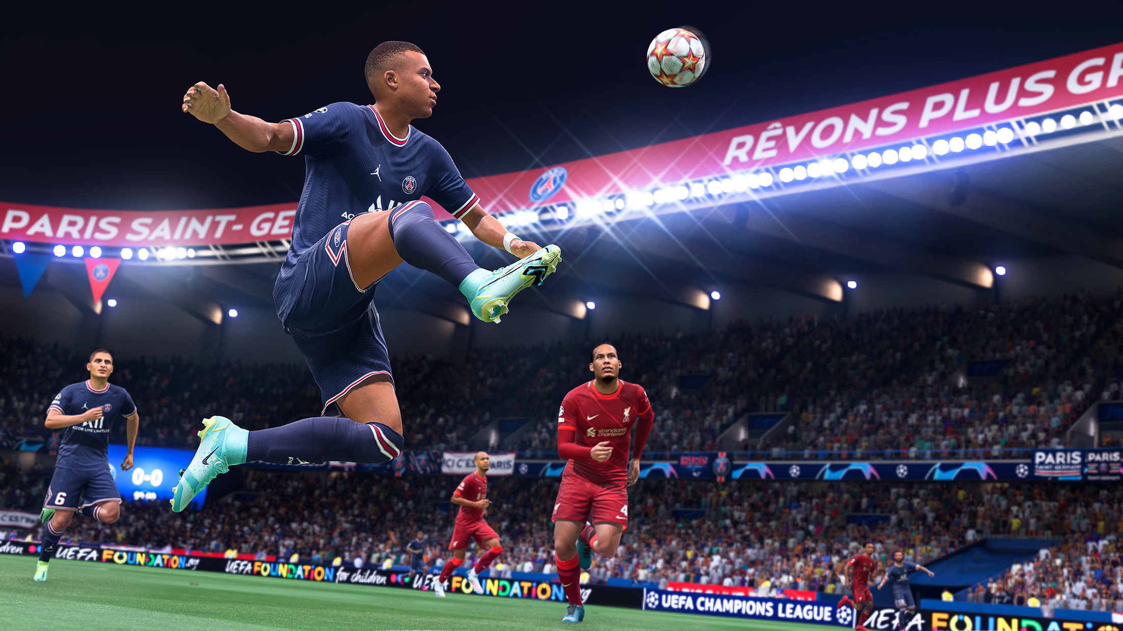 World superstar Kylian Mbappe of Paris-St. Germain makes a midair volley with his right foot extended.