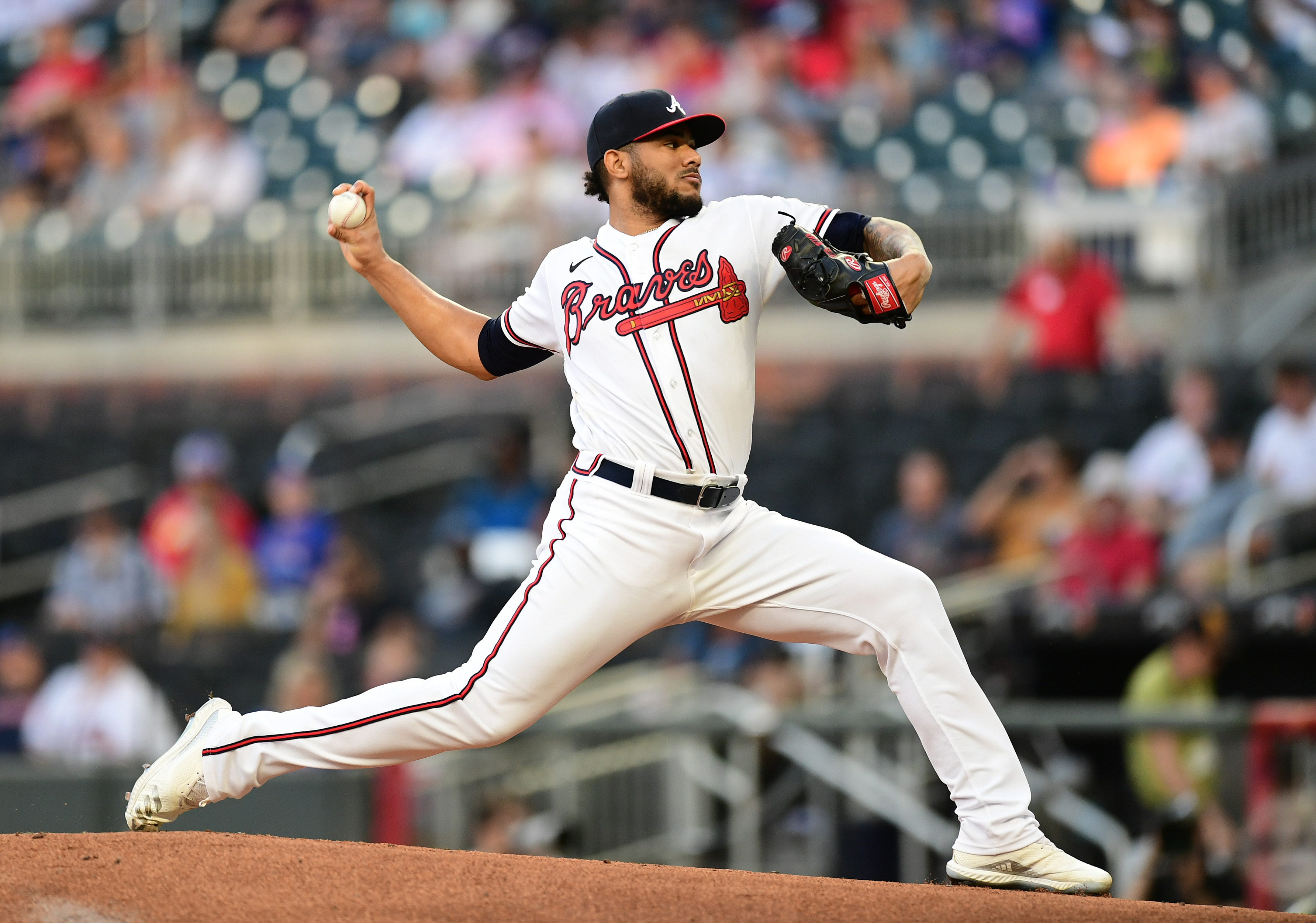 Huascar Ynoa #19 of the Atlanta Braves pitches against the Washington Nationals during the 1st inning at Truist Park on September 9, 2021 in Atlanta, Georgia.