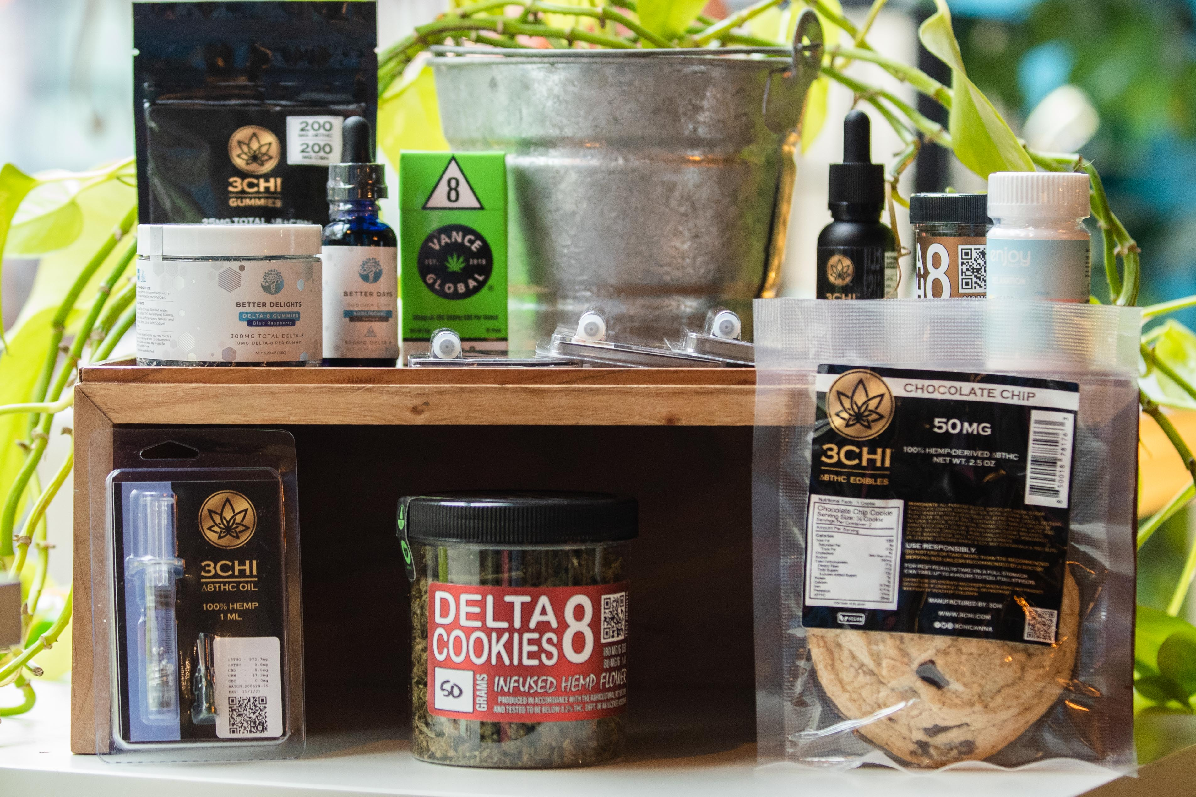 Products containing Delta-8-THC are displayed at Botanic Alternatives, located at 2497 N. Milwaukee Ave. in the Logan Square neighborhood, Thursday afternoon, April 8, 2021.