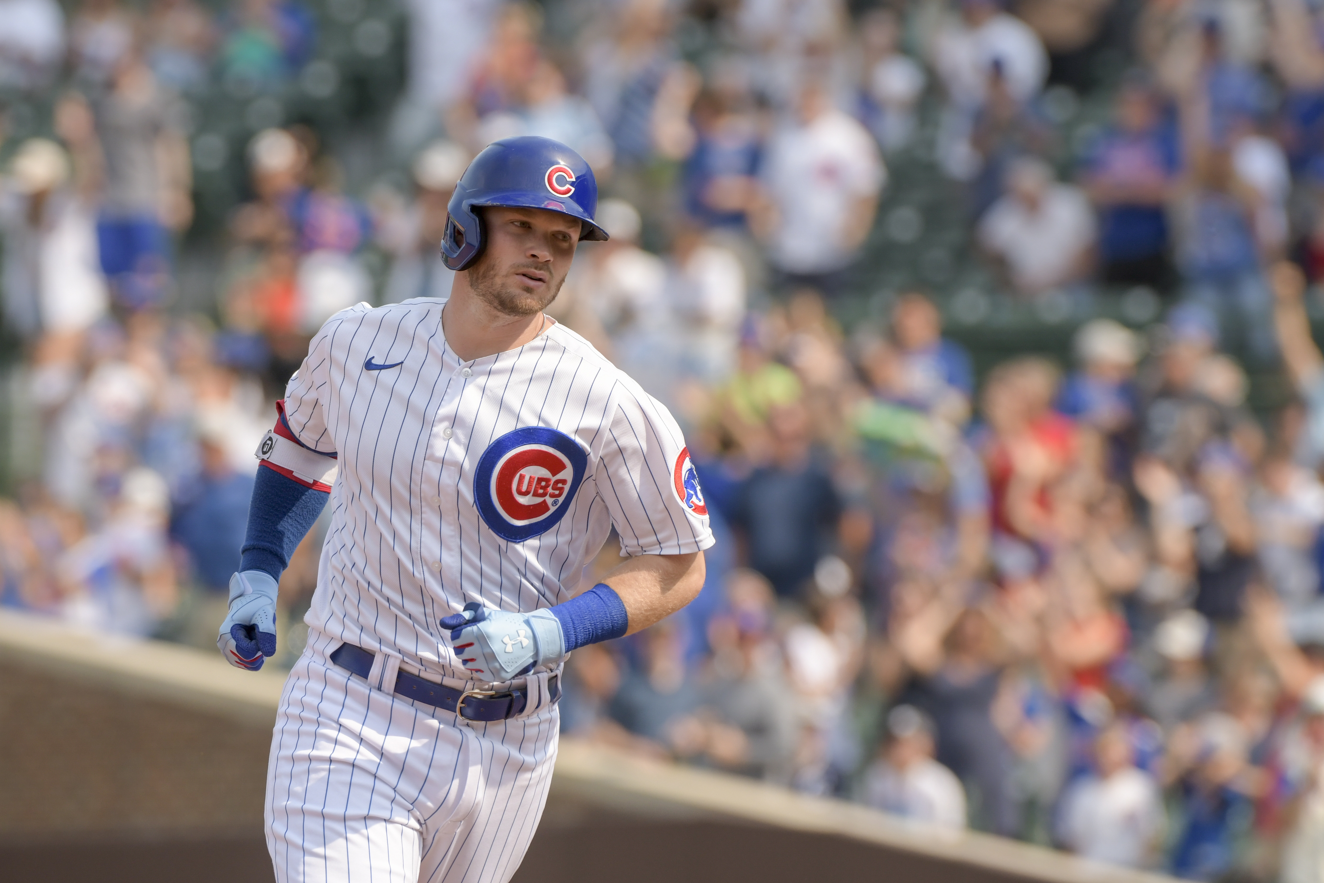 """""""I think just the confidence of being in the middle of the lineup, especially with Frank [Schwindel] hitting well and [Patrick] Wisdom hitting well [helps]. Being right in the middle of [the lineup], and really feeling like that's a spot where I belong,"""" Ian Happ said."""
