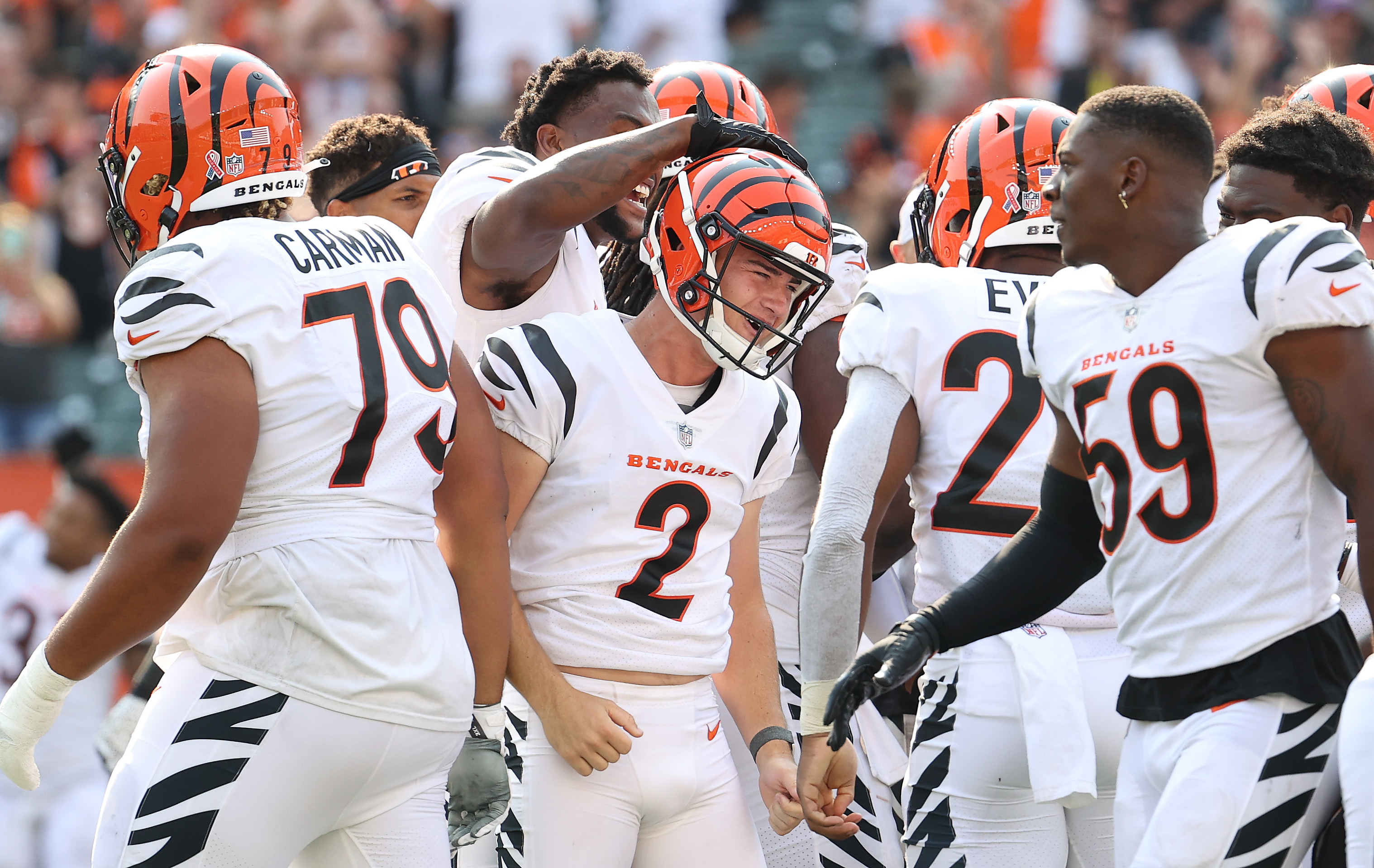 Evan McPherson #2 of the Cincinnati Bengals celebrates with teammates after kicking a field goal to beat the Minnesota Vikings 27-24 in overtime at Paul Brown Stadium on September 12, 2021 in Cincinnati, Ohio.