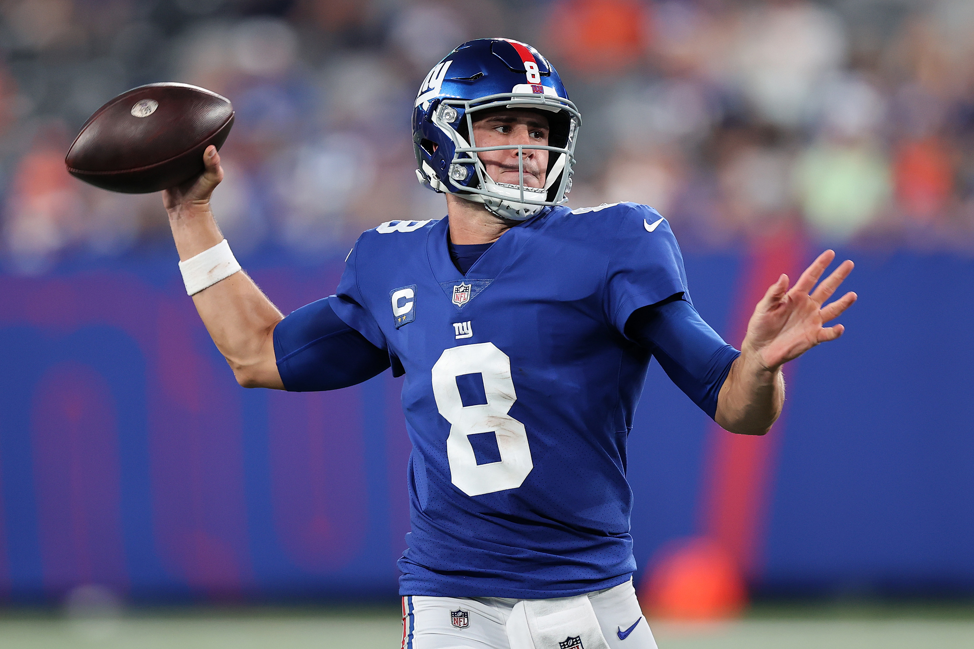 Daniel Jones #8 of the New York Giants throws a pass against the Denver Broncos during the second half at MetLife Stadium on September 12, 2021 in East Rutherford, New Jersey.