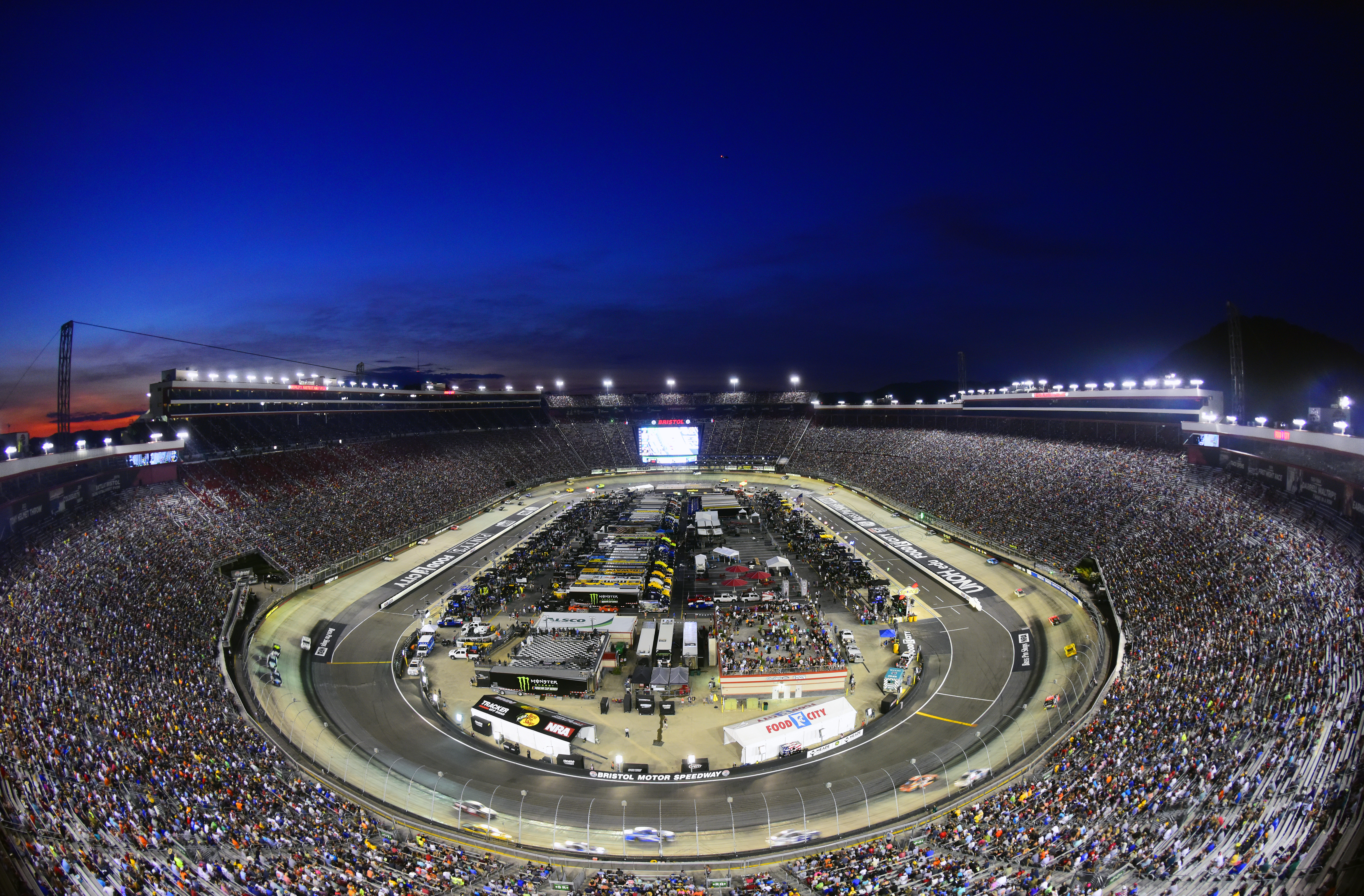 A general view of the action during the Monster Energy NASCAR Cup Series Bass Pro Shops NRA Night Race at Bristol Motor Speedway on August 17, 2019 in Bristol, Tennessee.