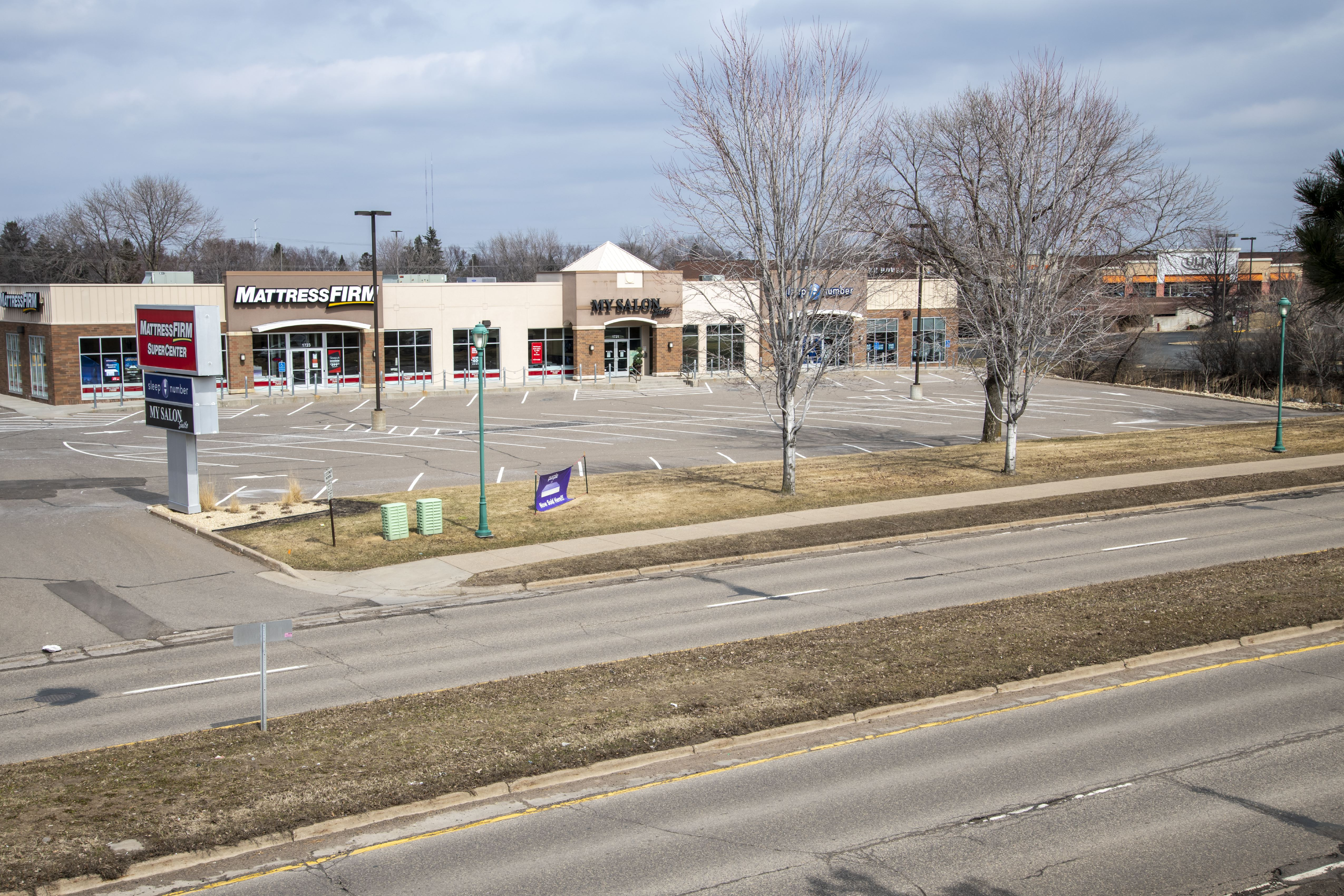 Empty strip mall because of the shutdown from the coronavirus pandemic, Roseville, Minnesota.
