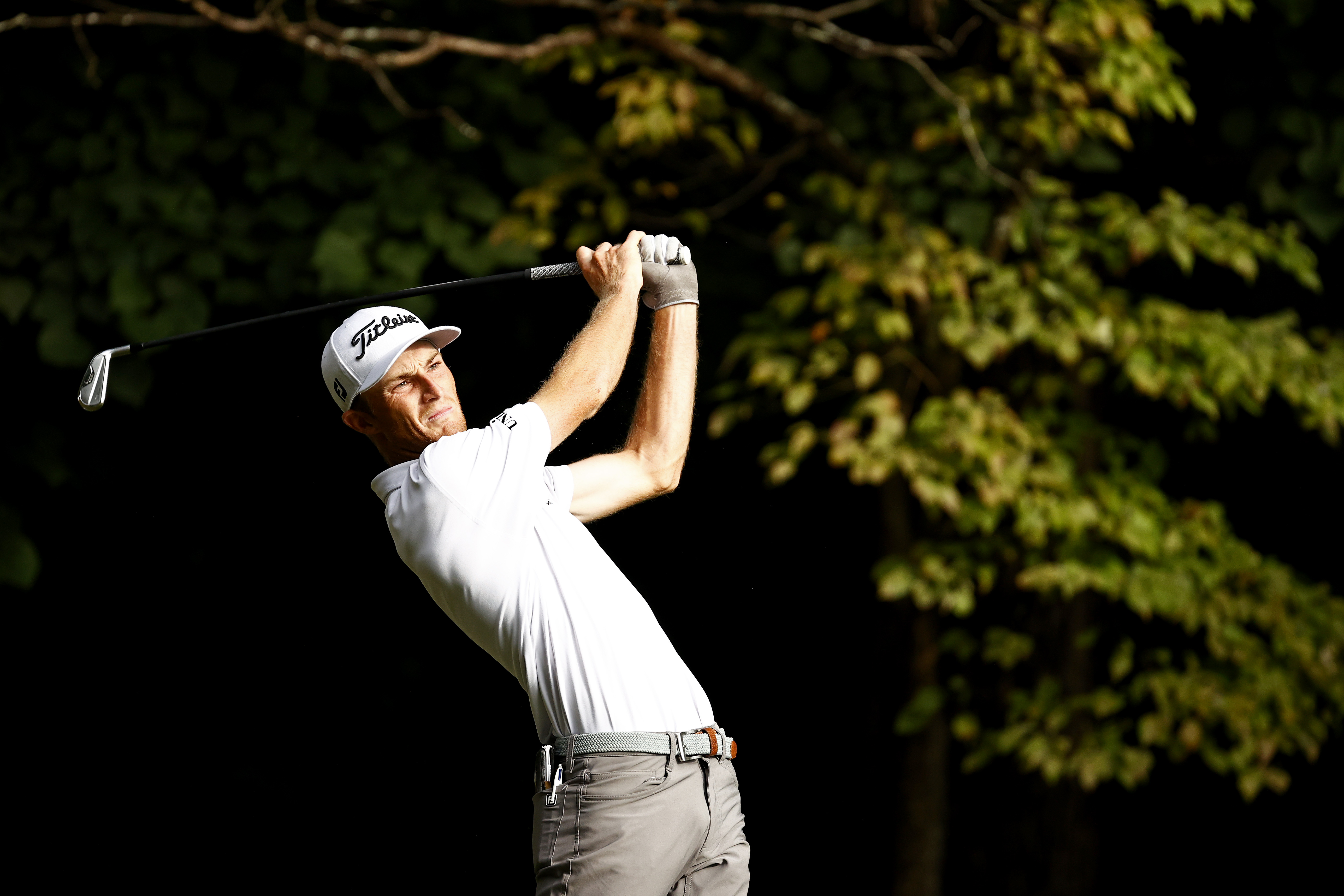 Will Zalatoris of the United States plays his shot from the second tee during the final round of the Wyndham Championship at Sedgefield Country Club on August 15, 2021 in Greensboro, North Carolina.