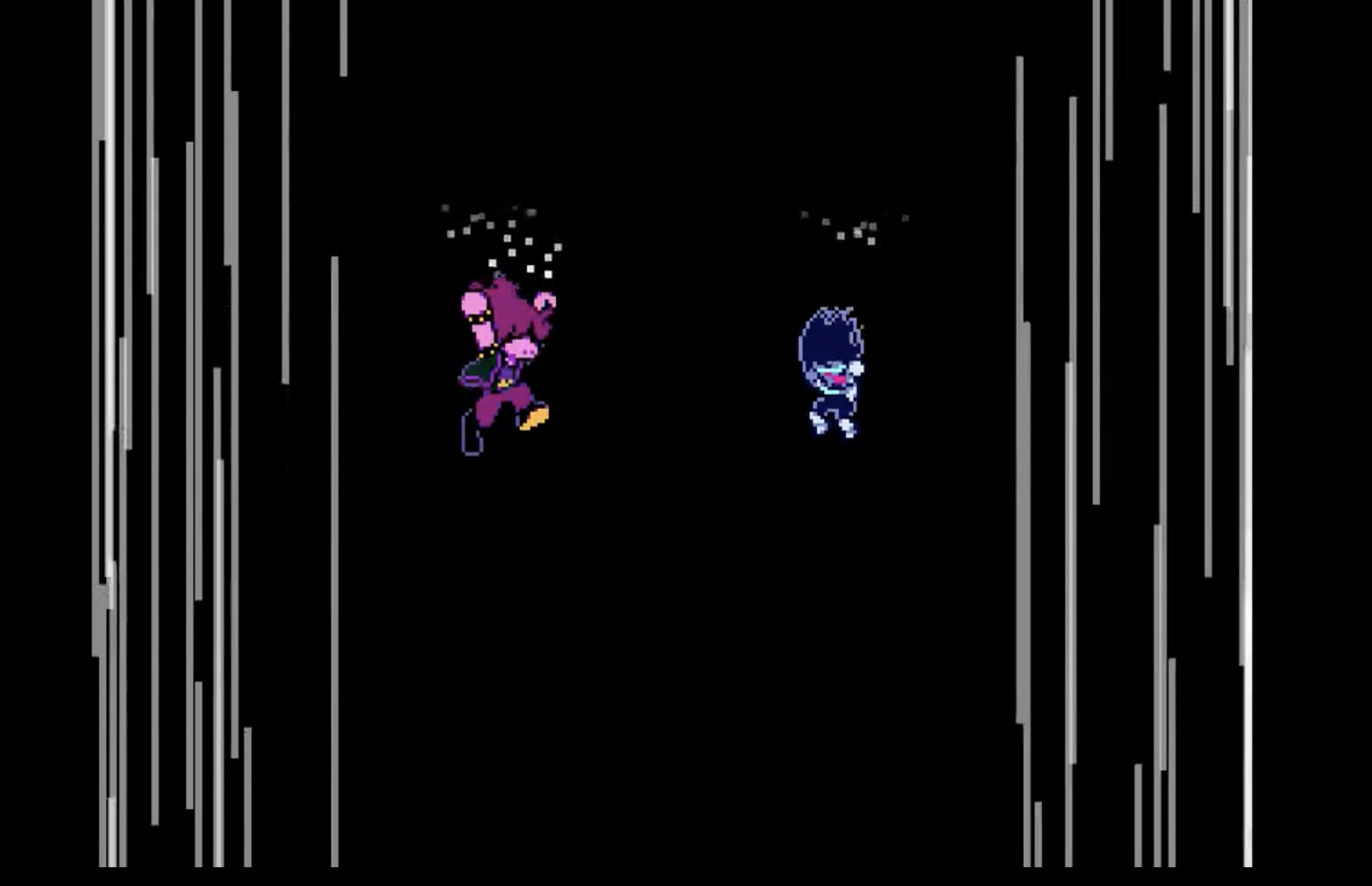 Kris and Susie from Deltarune falling into a pit