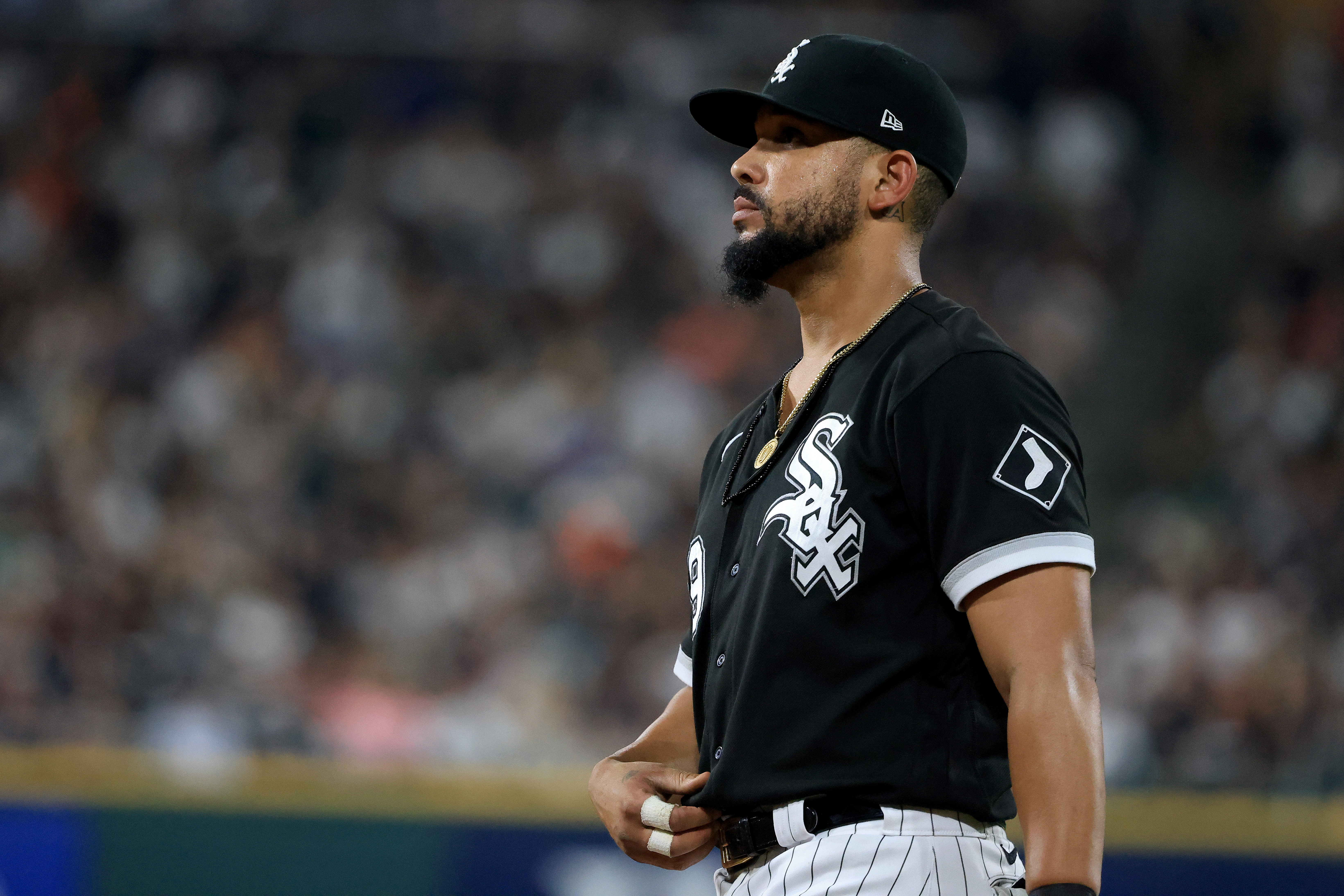 Jose Abreu of the Chicago White Sox on the field in the game against the Boston Red Sox at Guaranteed Rate Field on September 11, 2021 in Chicago, Illinois.