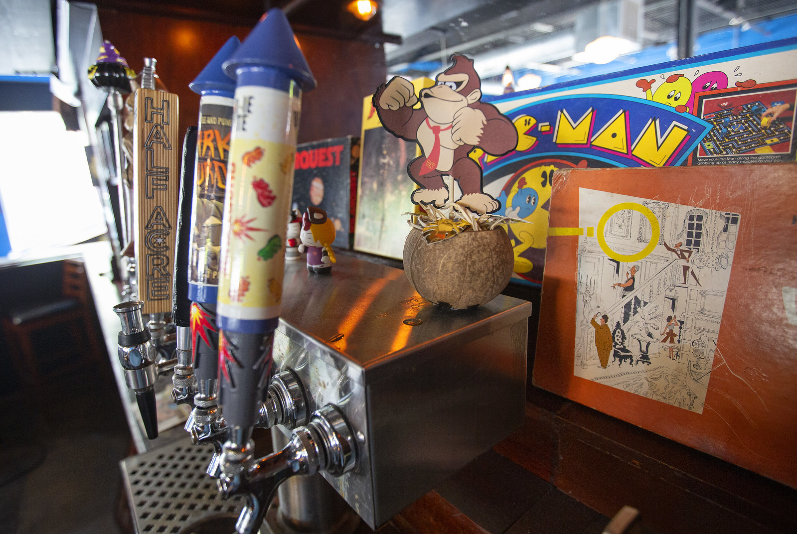 beer taps and a model of Donkey Kong