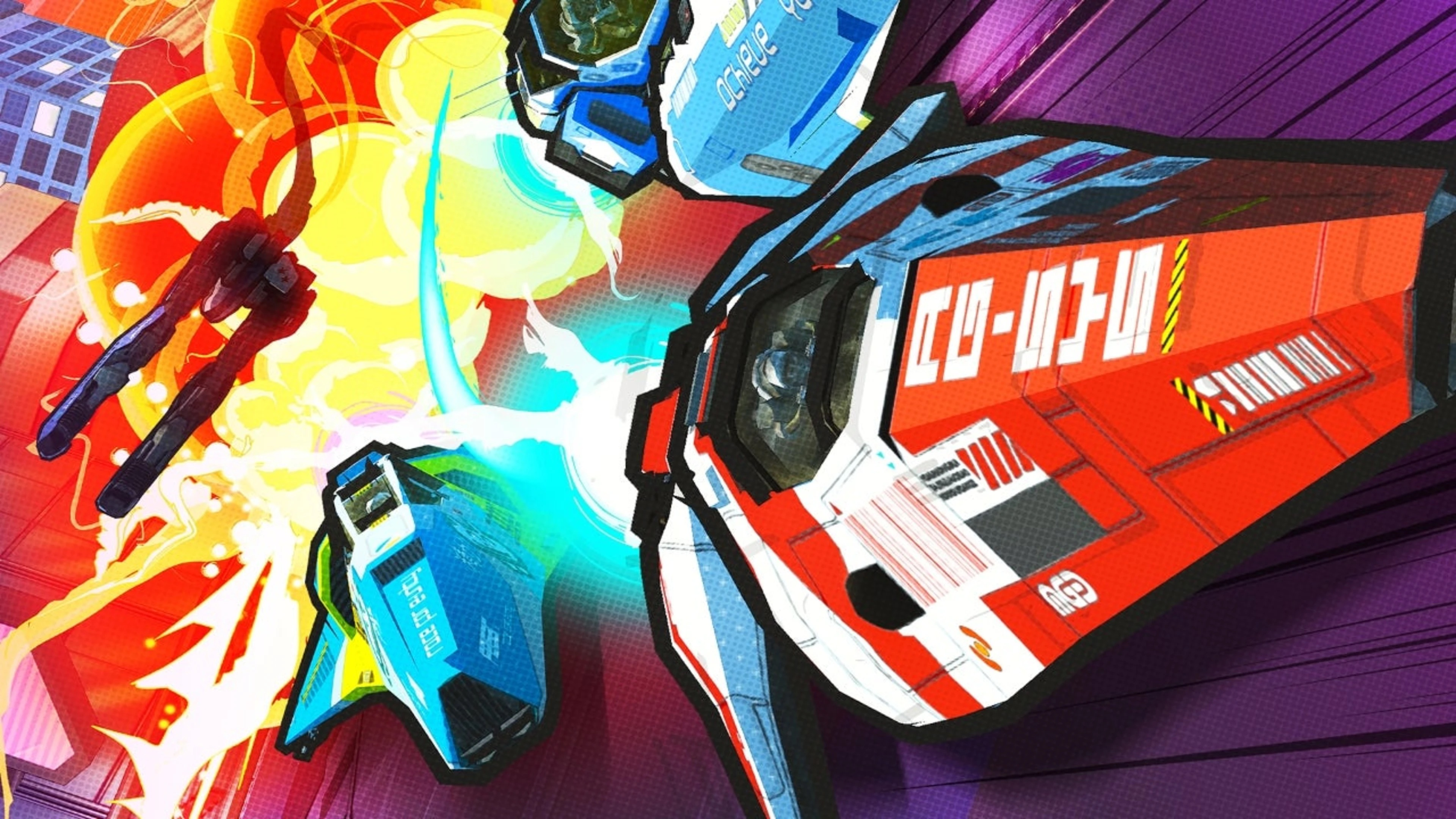 Comic book-style artwork from Wipeout Rush, featuring classic hoverships
