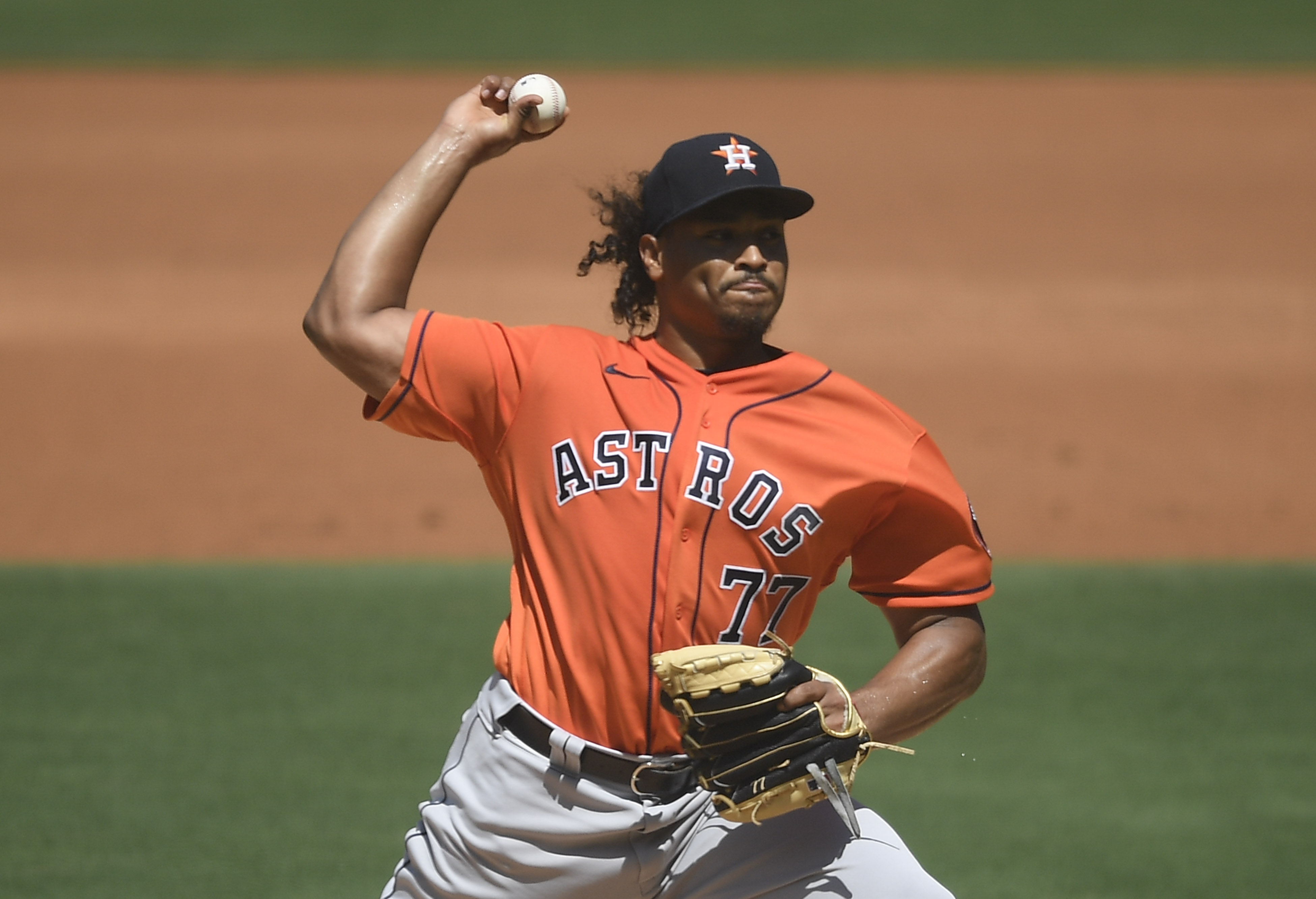 Luis Garcia of the Houston Astros pitches during the second inning of a baseball game against San Diego Padres at Petco Park on September 5, 2021 in San Diego, California.