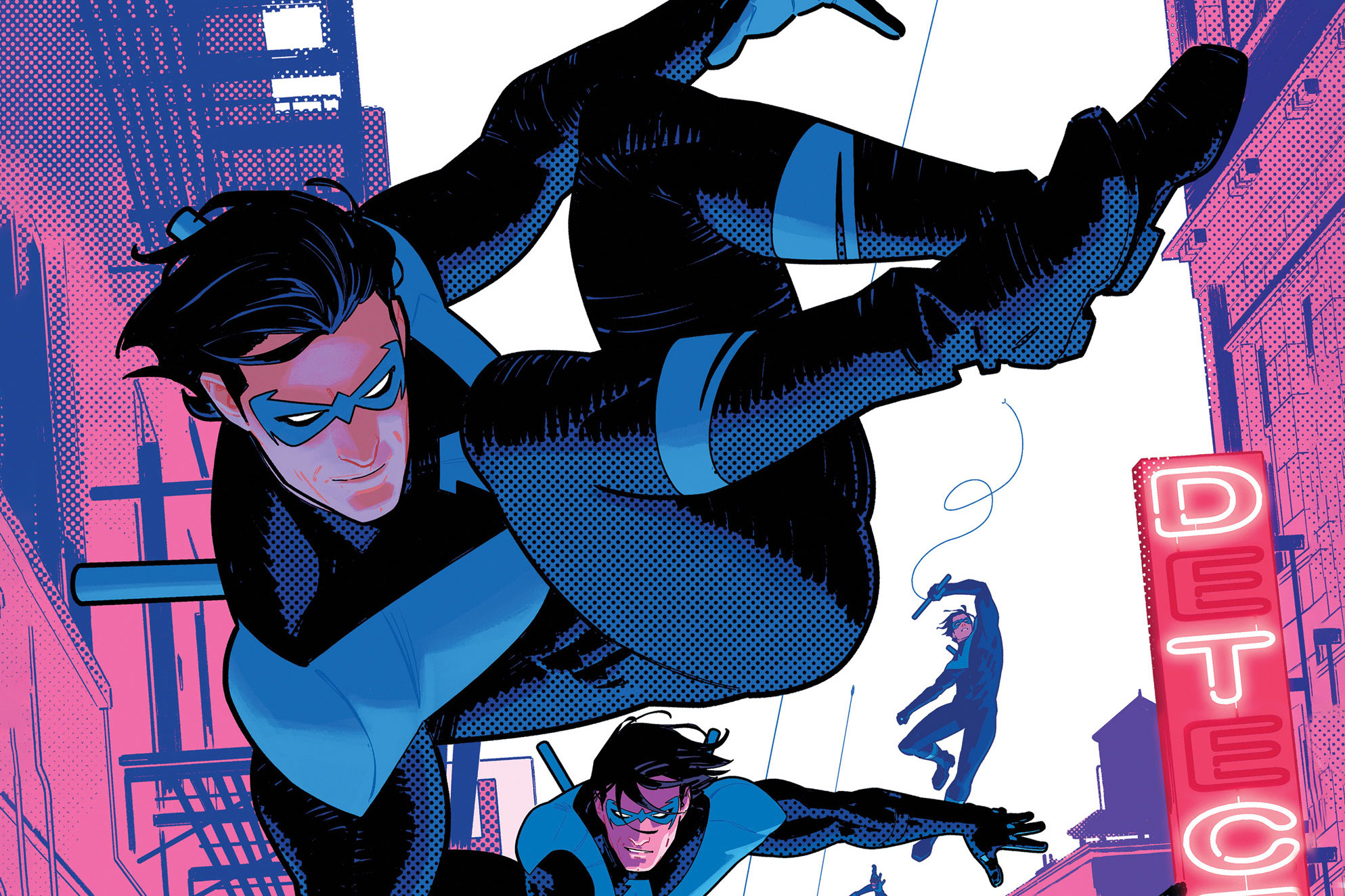 Nightwing vaults through a cityscape on the cover of Nightwing #87 (2021).