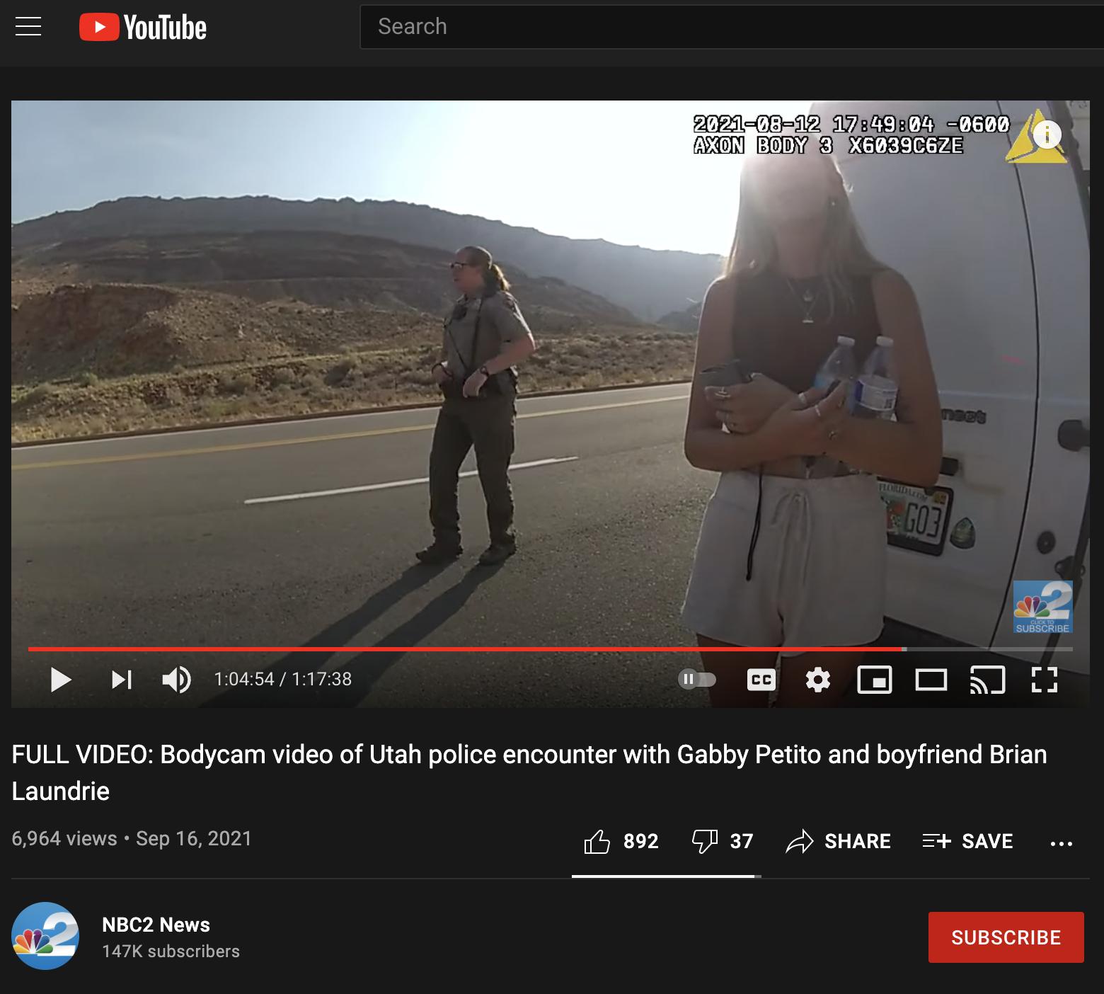 A bodycam video shows Gabby Petito and her boyfriend, Brian Laundrie.