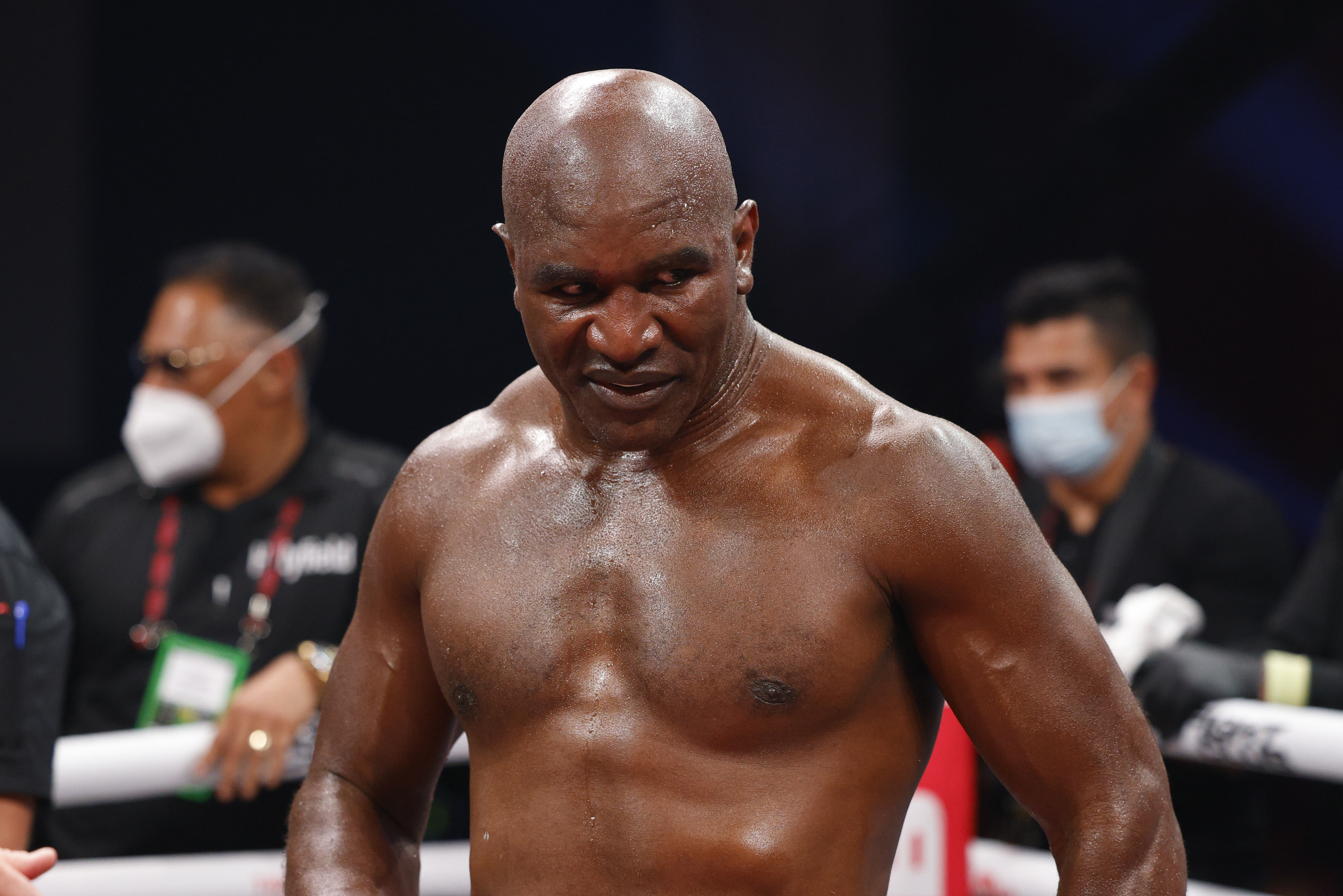 Evander Holyfield after his fight with Vitor Belfort.