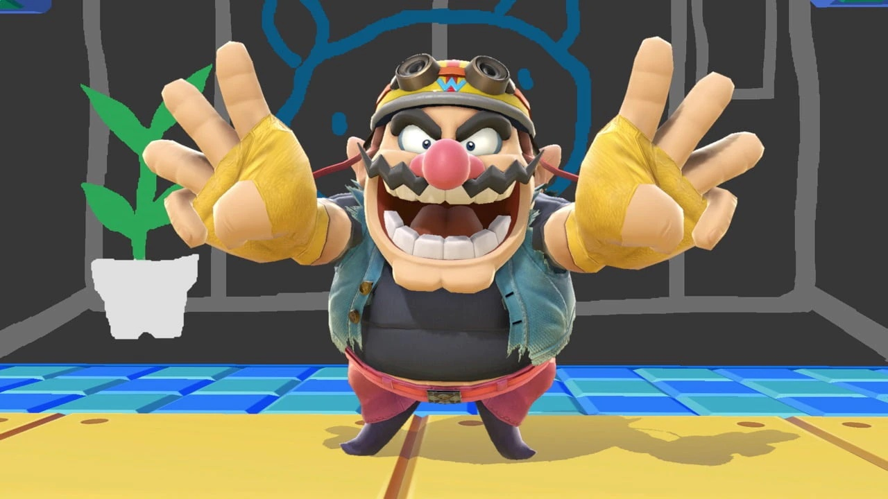 an image of Wario in Super Smash Bros. he's standing flashing a peace sign but with three fingers up? I don't know, it's funny.