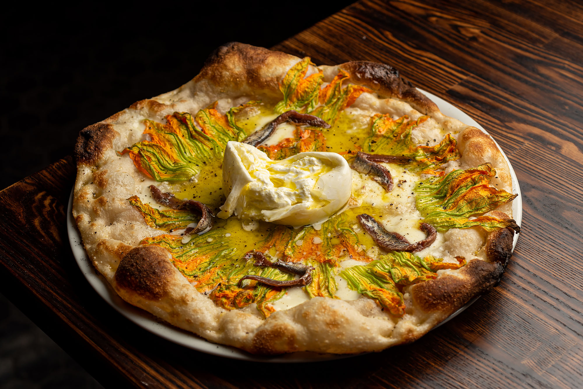 Fiori di zucca roman style pizza with squash blossoms and anchovies at Fingers Crossed in Hollywood.