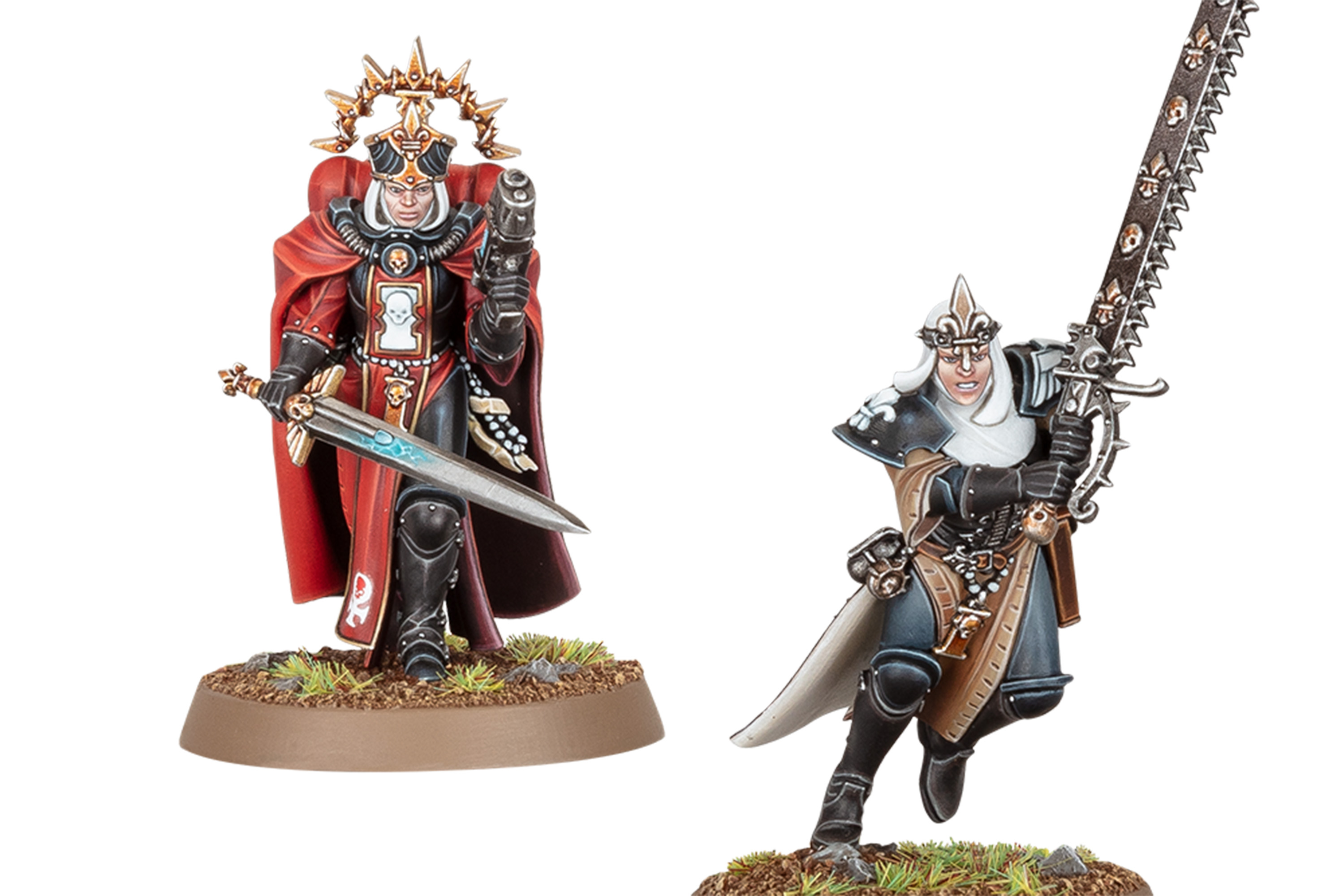Sisters of Battle Novitiates unveiled at Gen Con 2021. A prioress is dressed in fine robes, while a new member of the Order carries a massive chainsword.