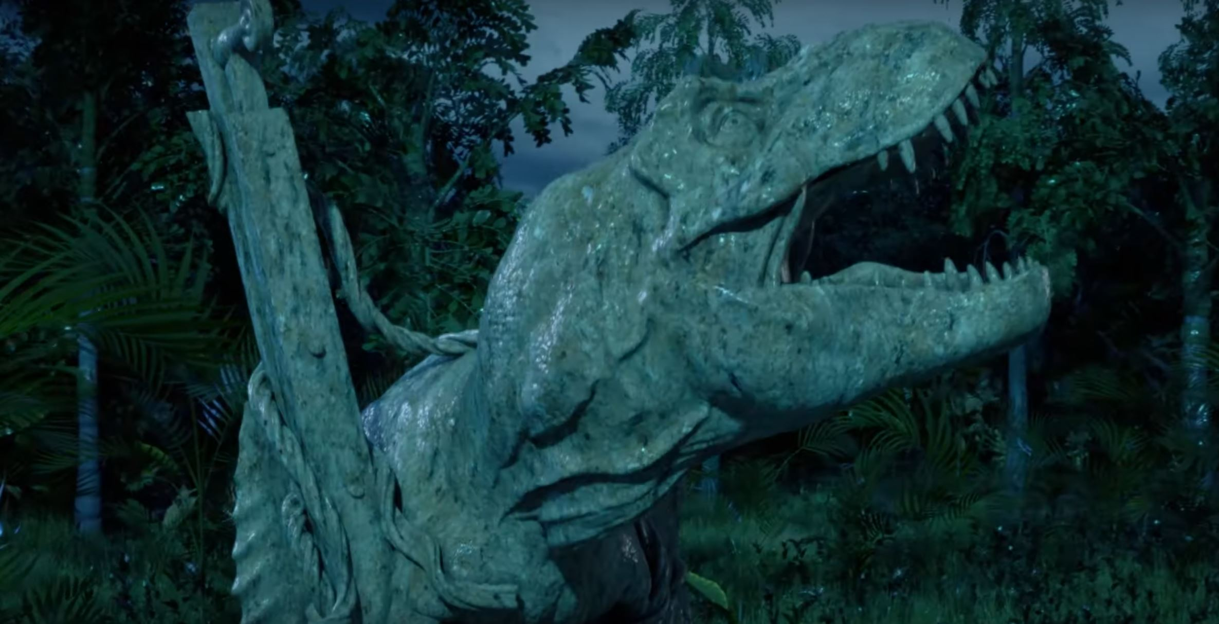 A still frame from the teaser trailer for Funko Games' Jurassic Park legacy title.
