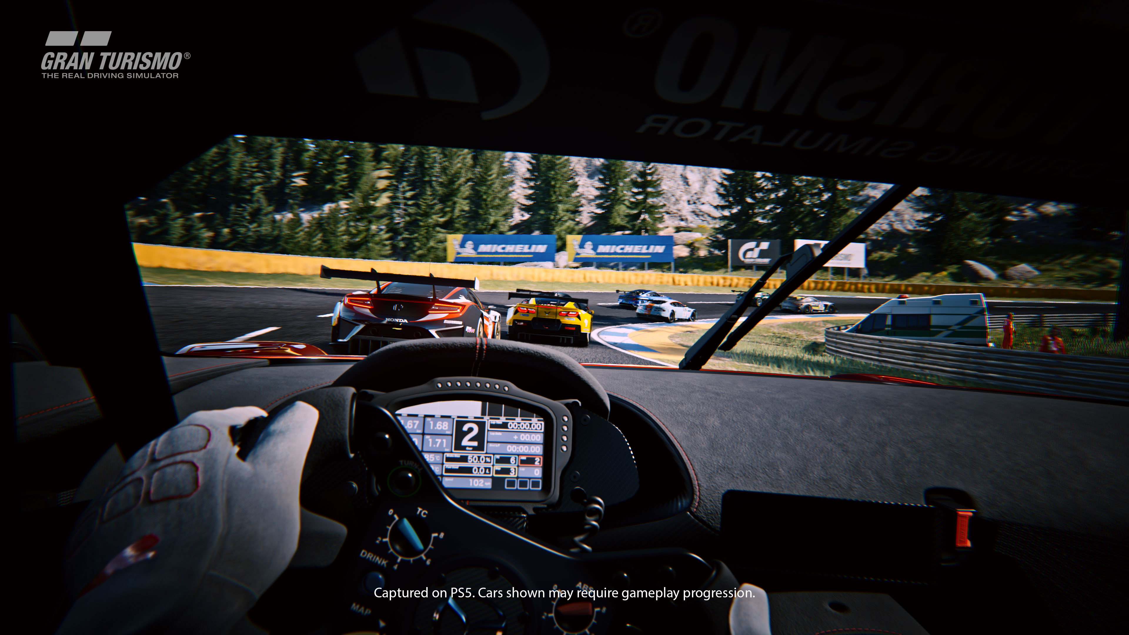 An in-dash shot of a race from Gran Turismo 7