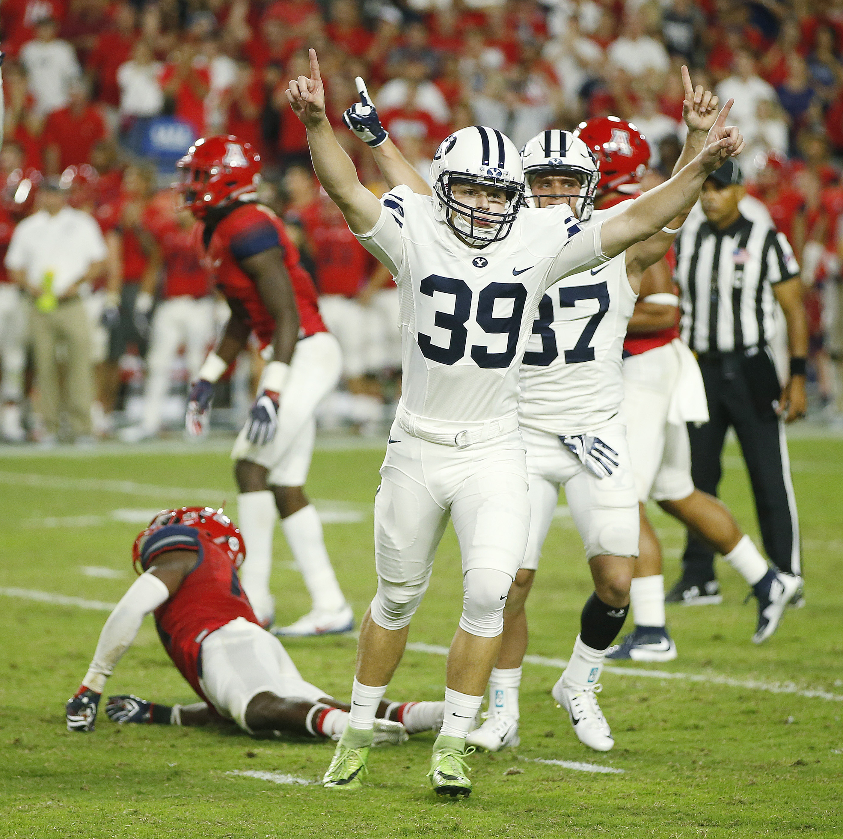 BYU kicker Jake Oldroyd reacts after connecting on the game-winning field goal against Arizona in Phoenix on Saturday, Sept. 3, 2016.