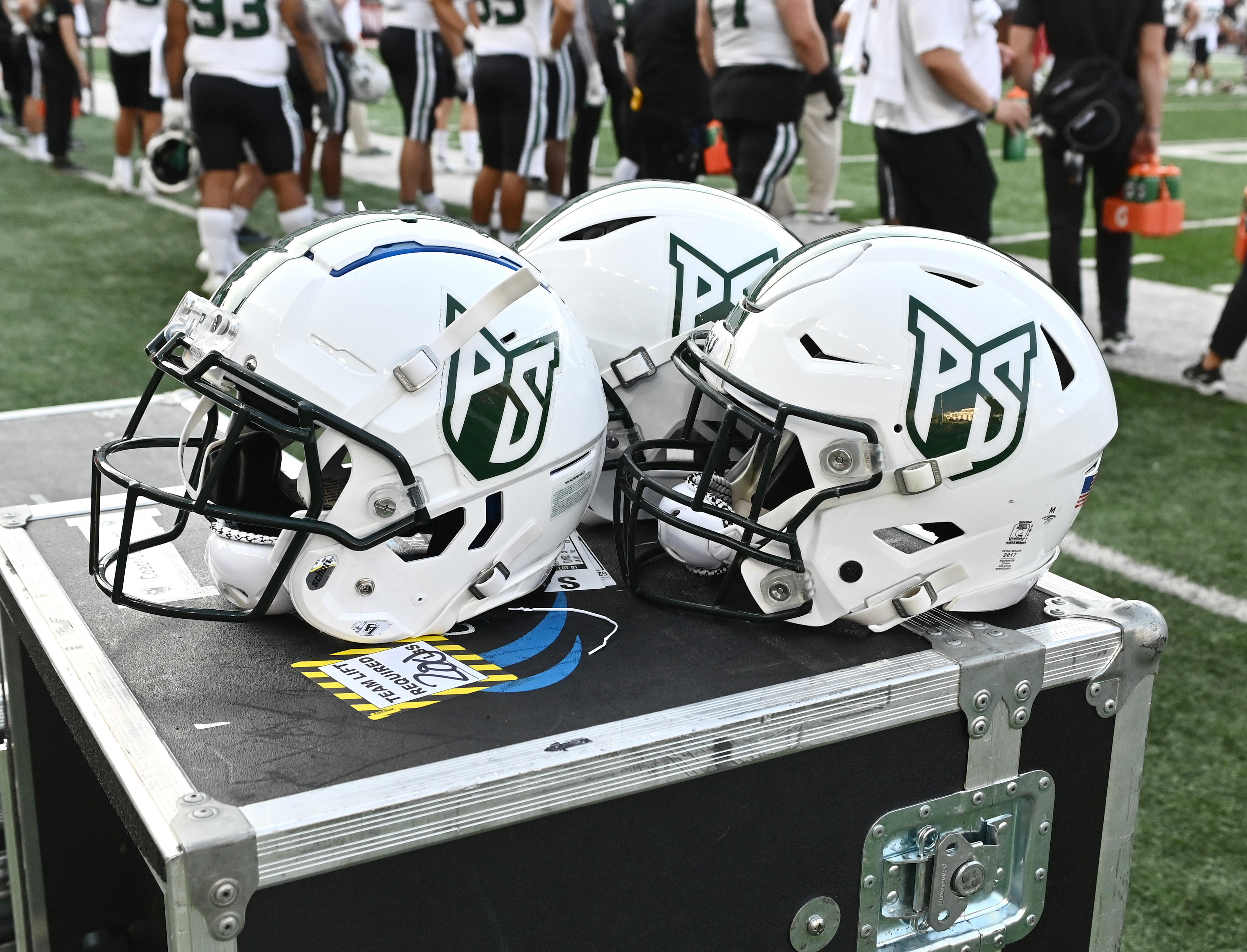 Portland State Vikings helmets sit during a game against the Washington State Cougars in the second half at Gesa Field at Martin Stadium.
