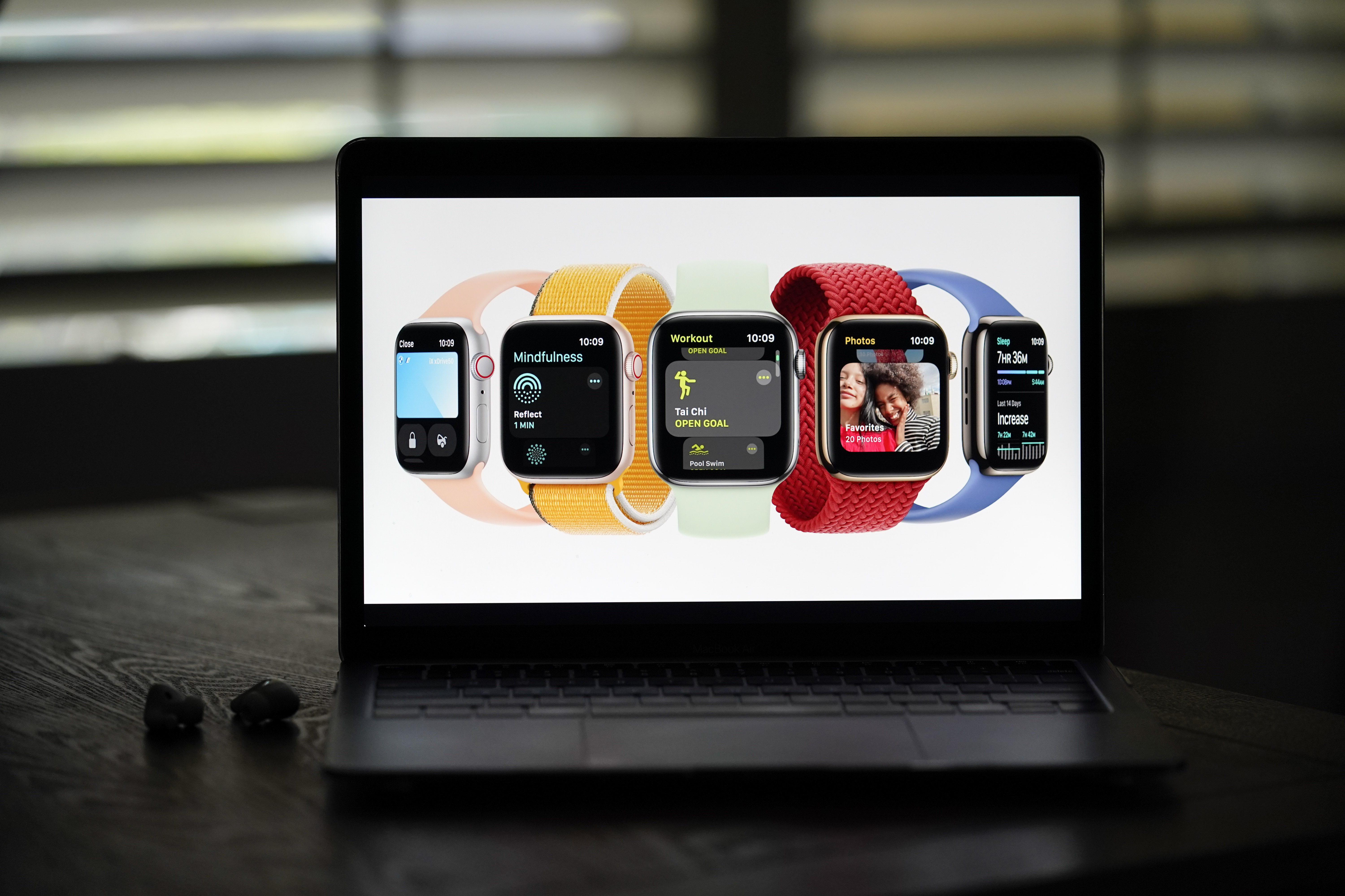 New Apple Watch Series 7 models are shown on a screen in La Habra, Calif.