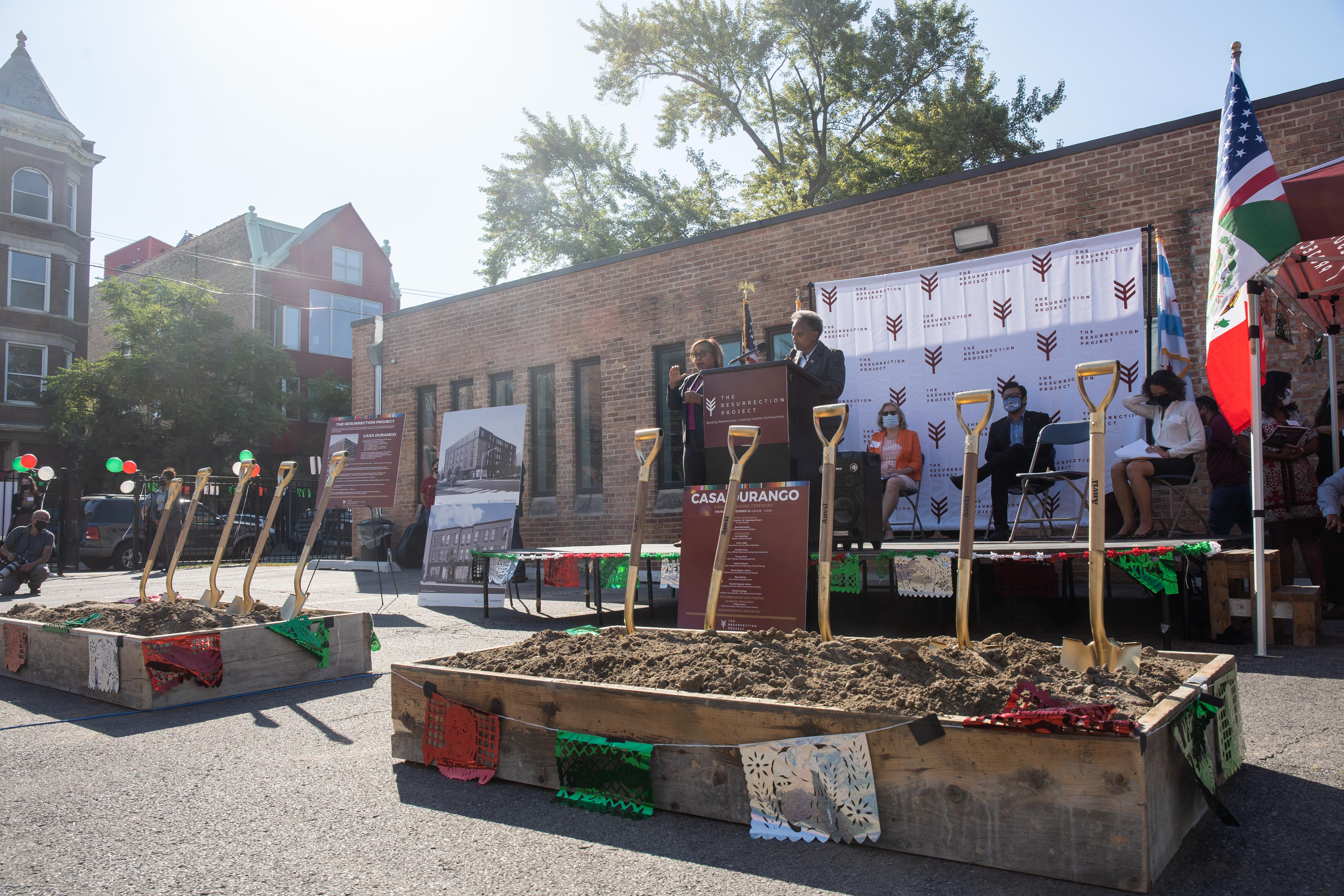 Chicago Mayor Lori Lightfoot speaks Thursday during the groundbreaking ceremony for Casa Durango, an affordable housing development by the Resurrection Project in the Pilsen neighborhood.