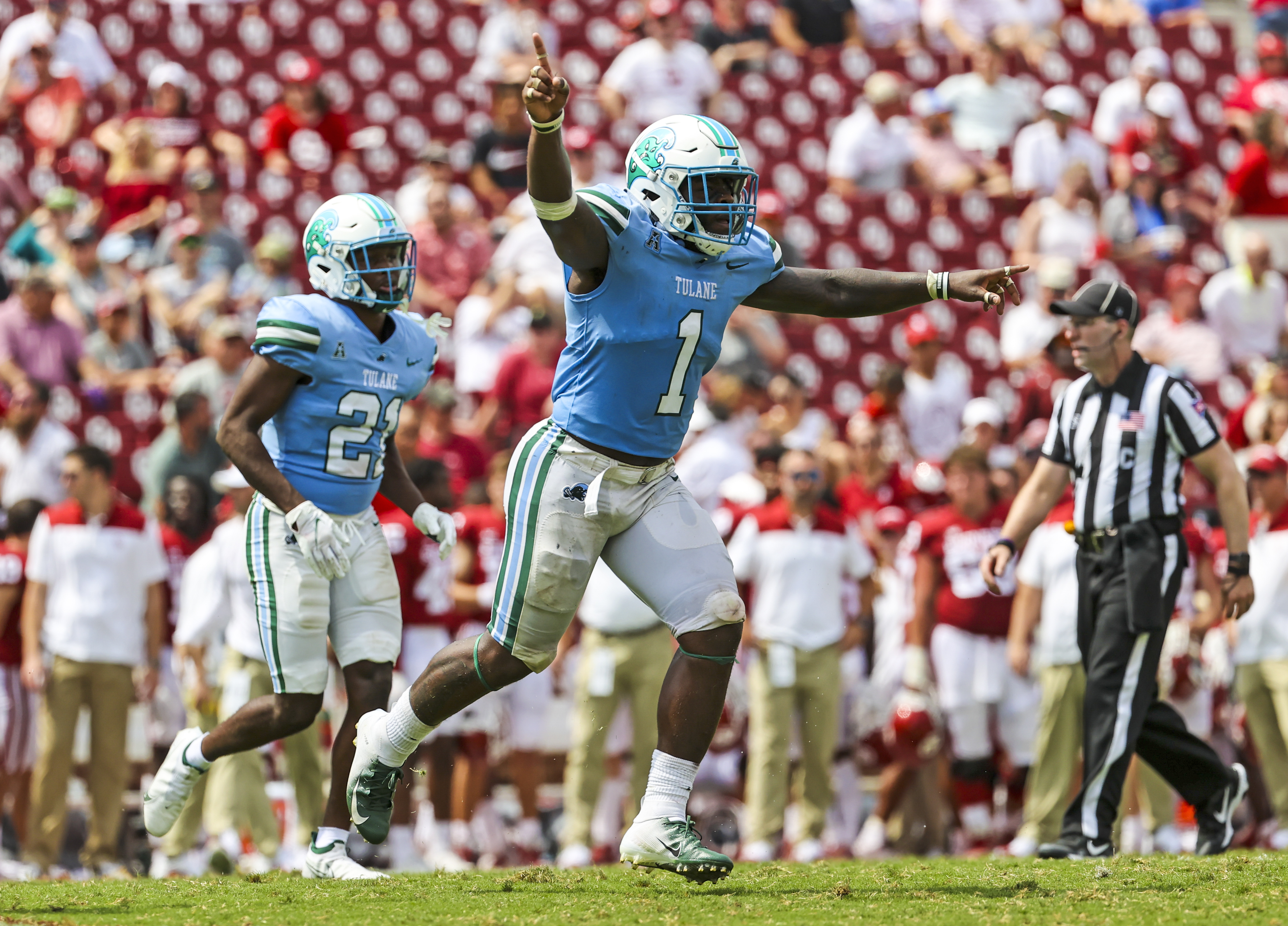 Tulane Green Wave linebacker Nick Anderson reacts during the fourth quarter against the Oklahoma Sooners at Gaylord Family-Oklahoma Memorial Stadium.