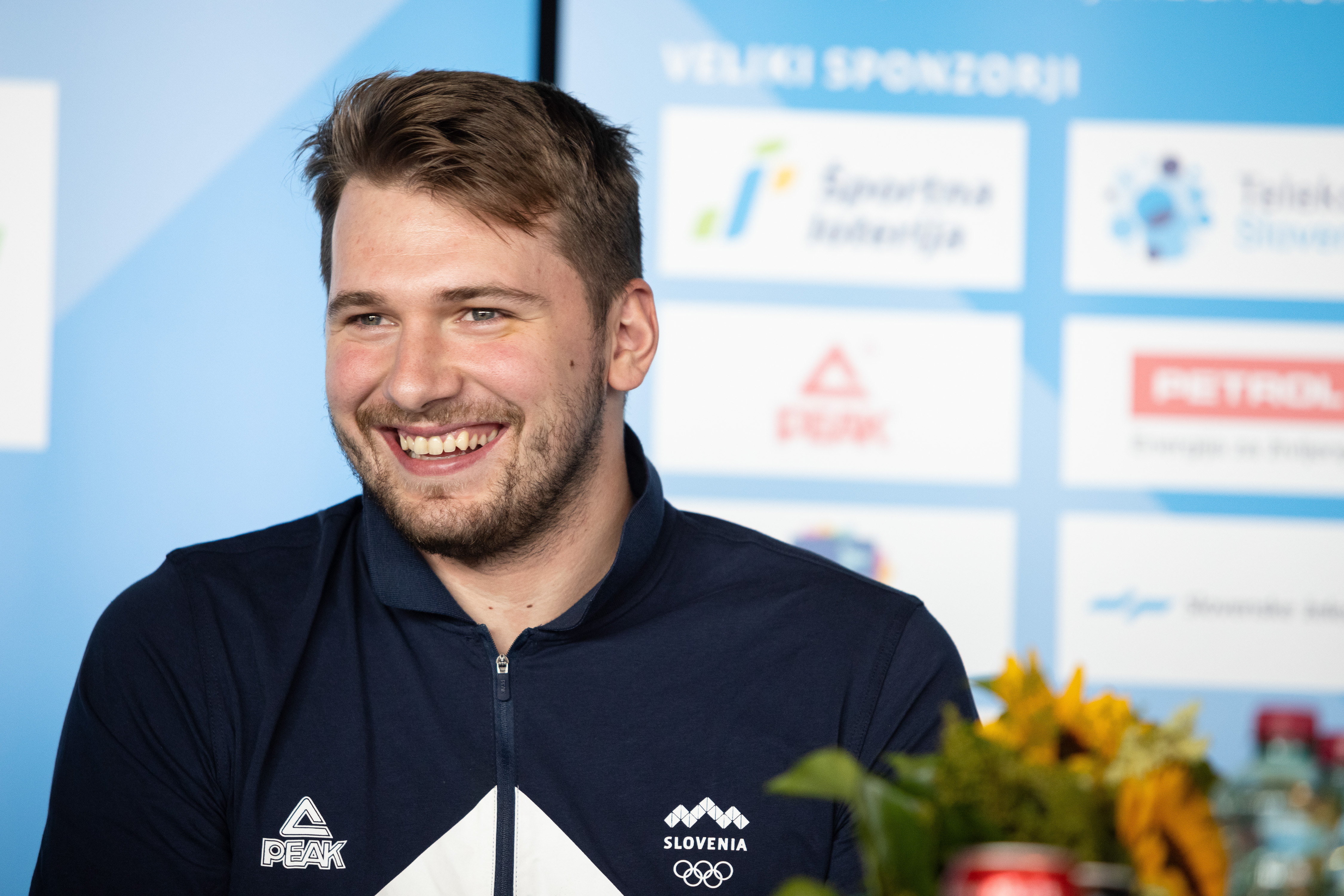 Luka Doncic attends a press conference upon Slovenia...