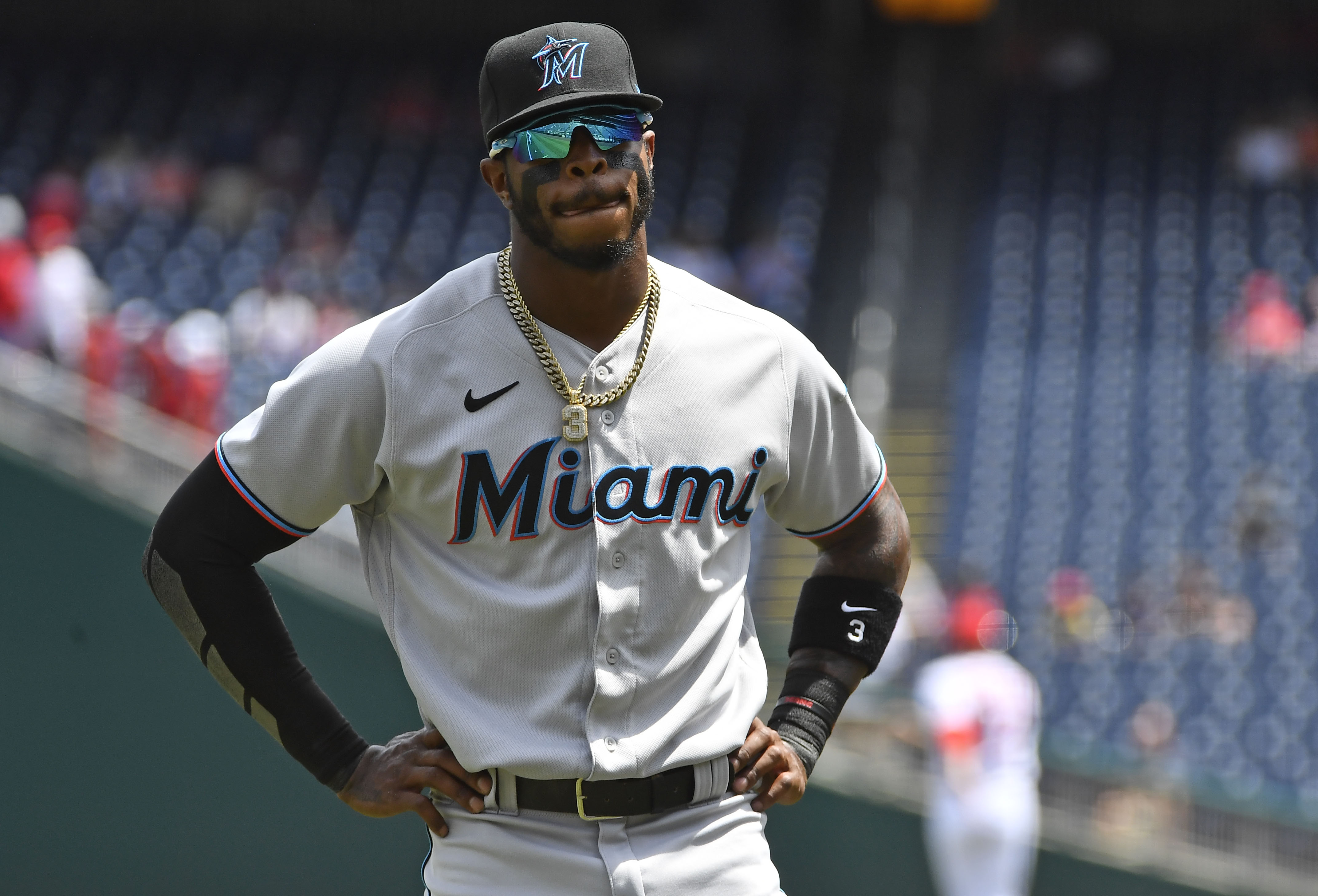 Miami Marlins center fielder Monte Harrison (3) on the field before the game against the Washington Nationals at Nationals Park