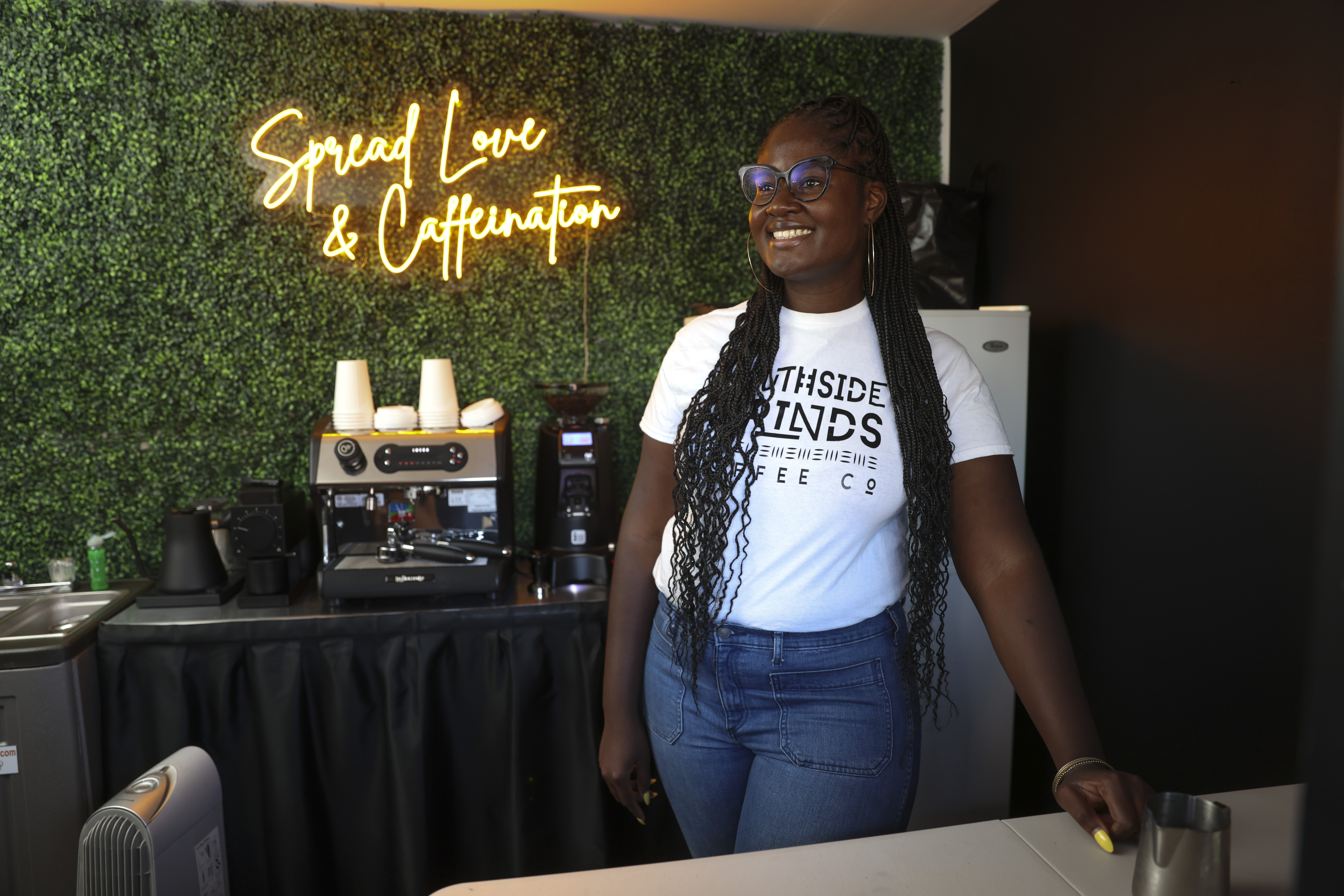 Owner Ebony Blue poses for a portrait at Southside Grind's Shipping Container Coffee Shop at 330 E. 51st St. in the Boxville Marketplace, Wednesday, Sept. 15, 2021.